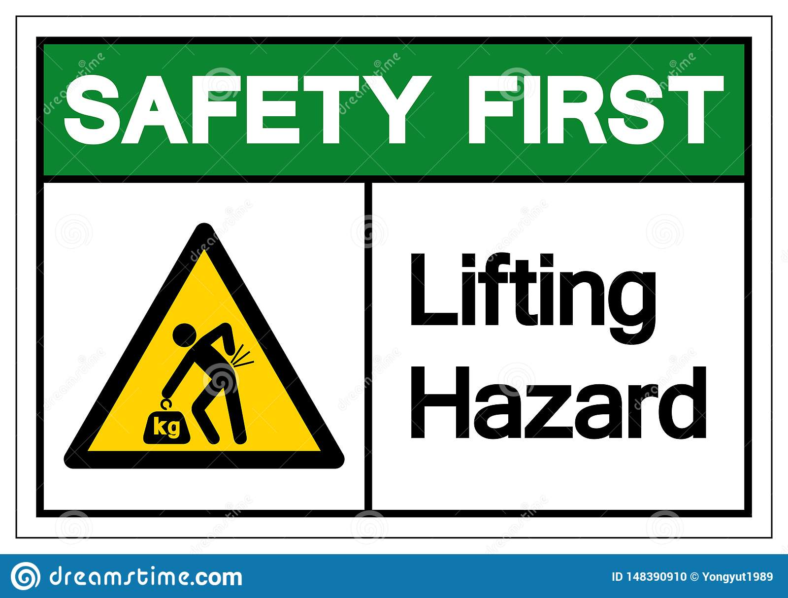 Safety First Lifting Hazard Symbol Sign Vector