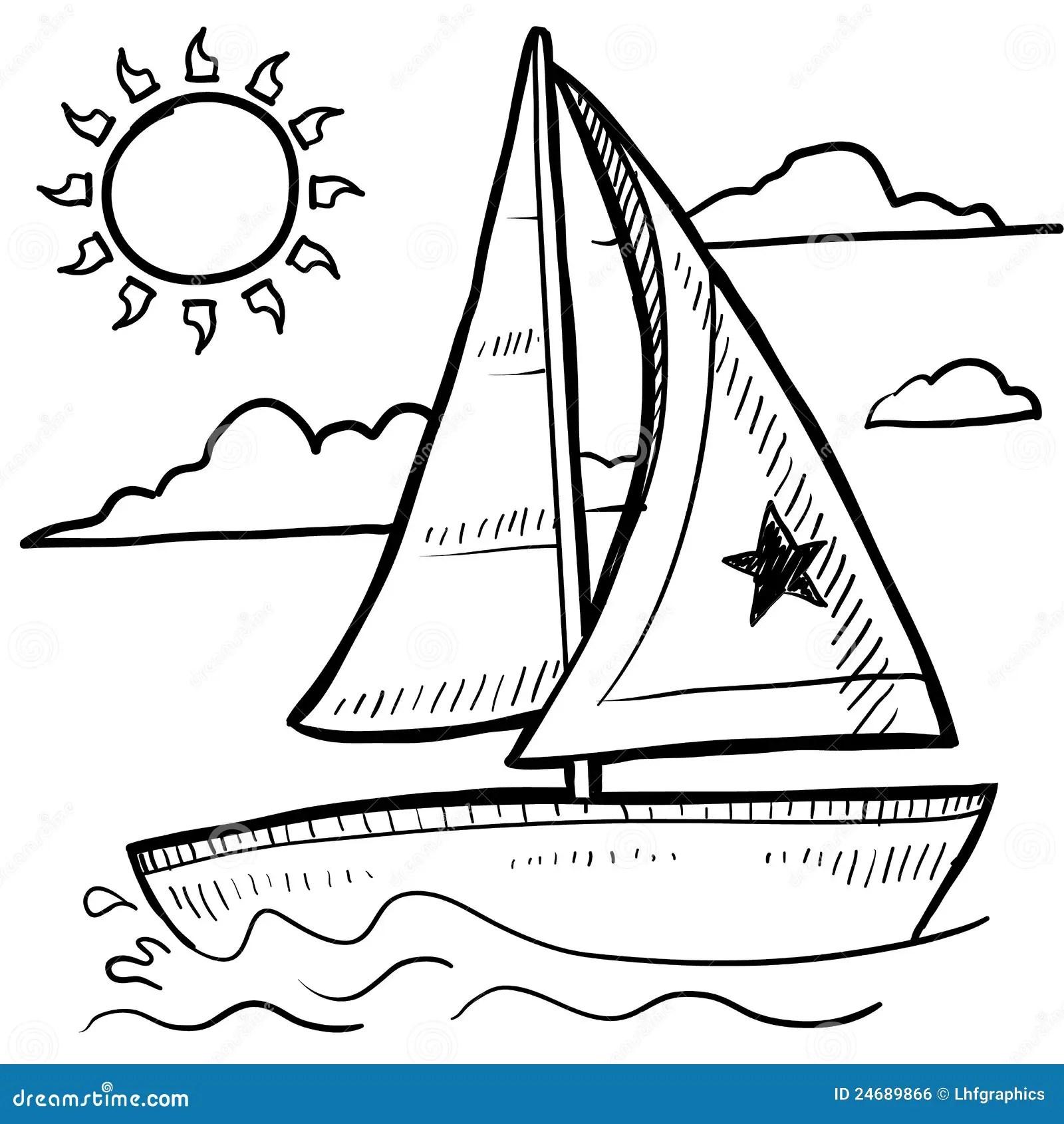 Sailboat Regatta Vector Sketch Stock Vector