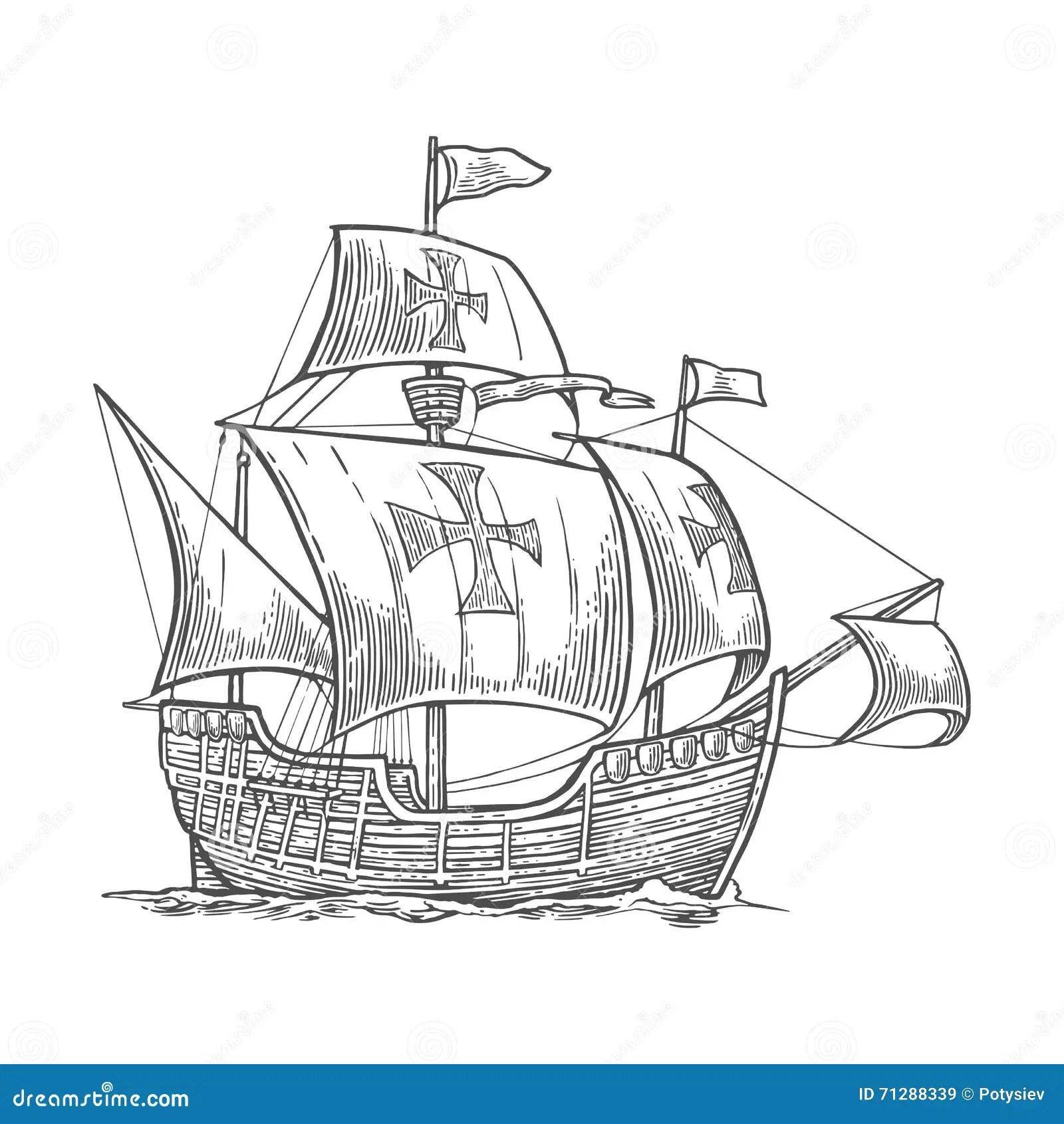 Sailing Ship Floating On The Sea Waves Caravel Santa