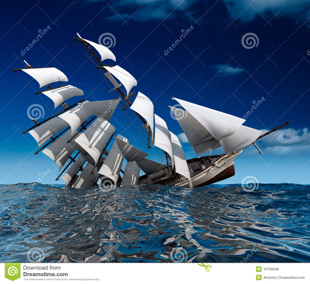 Sailing Ship Sinking Royalty Free Stock Photos