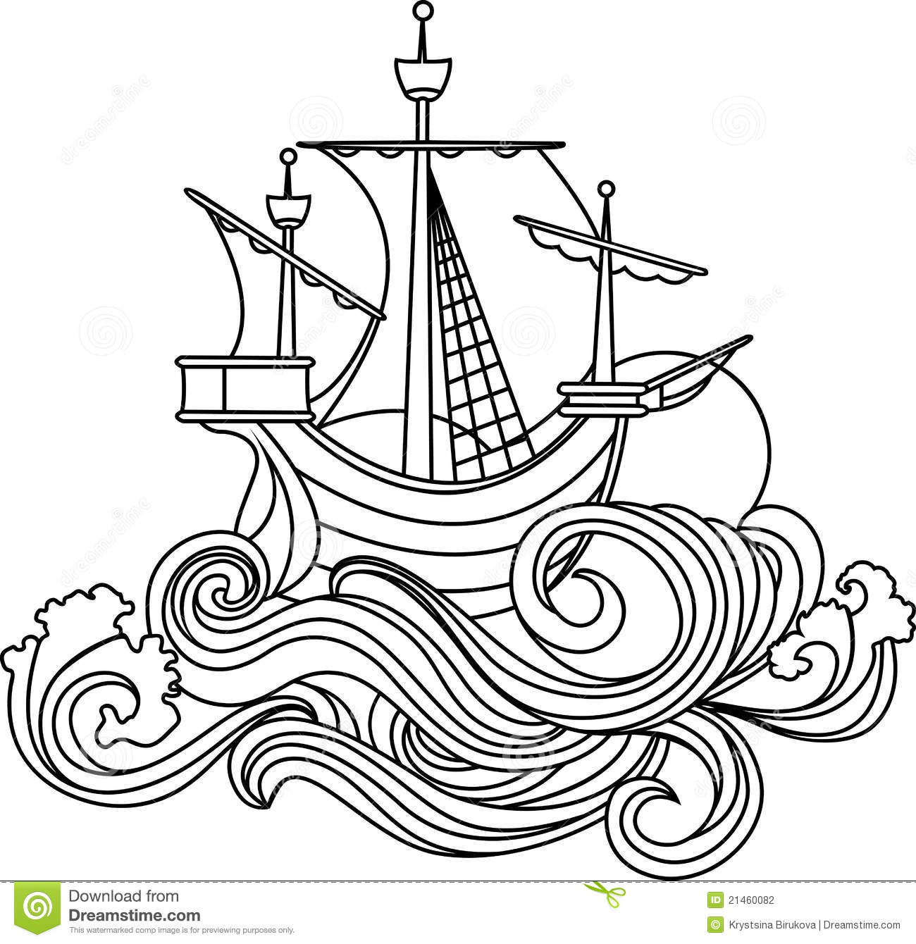 Yacht Icon Outline Style Cartoon Vector