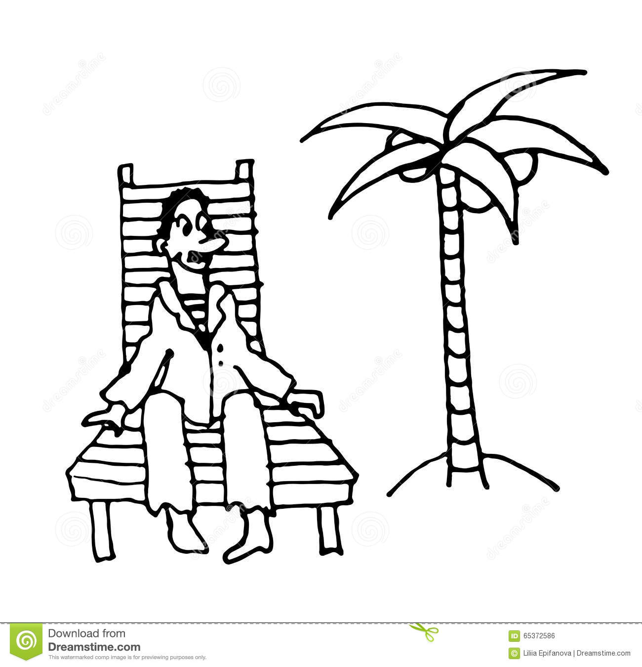 Sailor Man In A Suit Rests On A Wooden Deck Chair Under A
