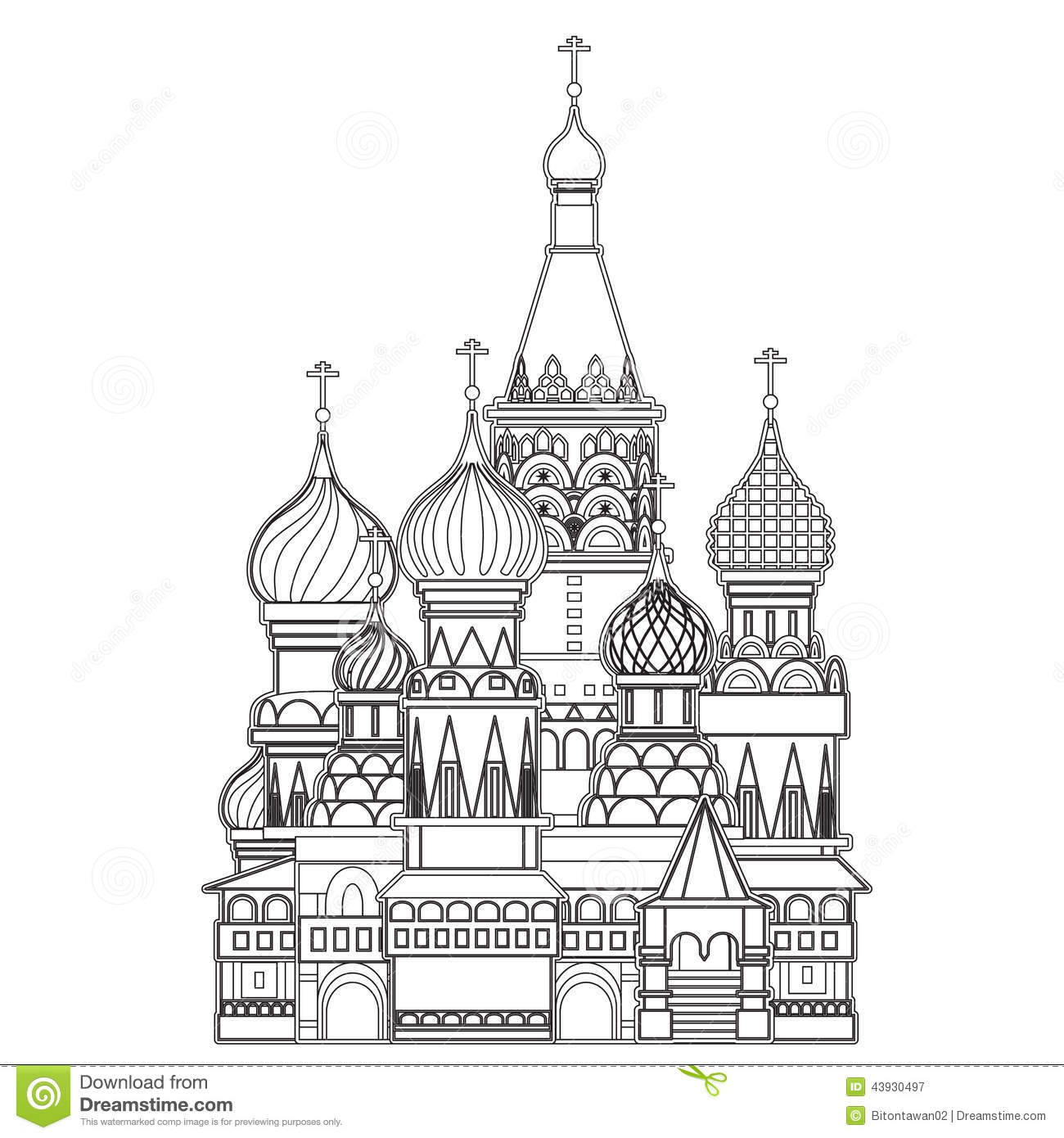 Saint Basil Cathedral Moscow Vector Stock Vector
