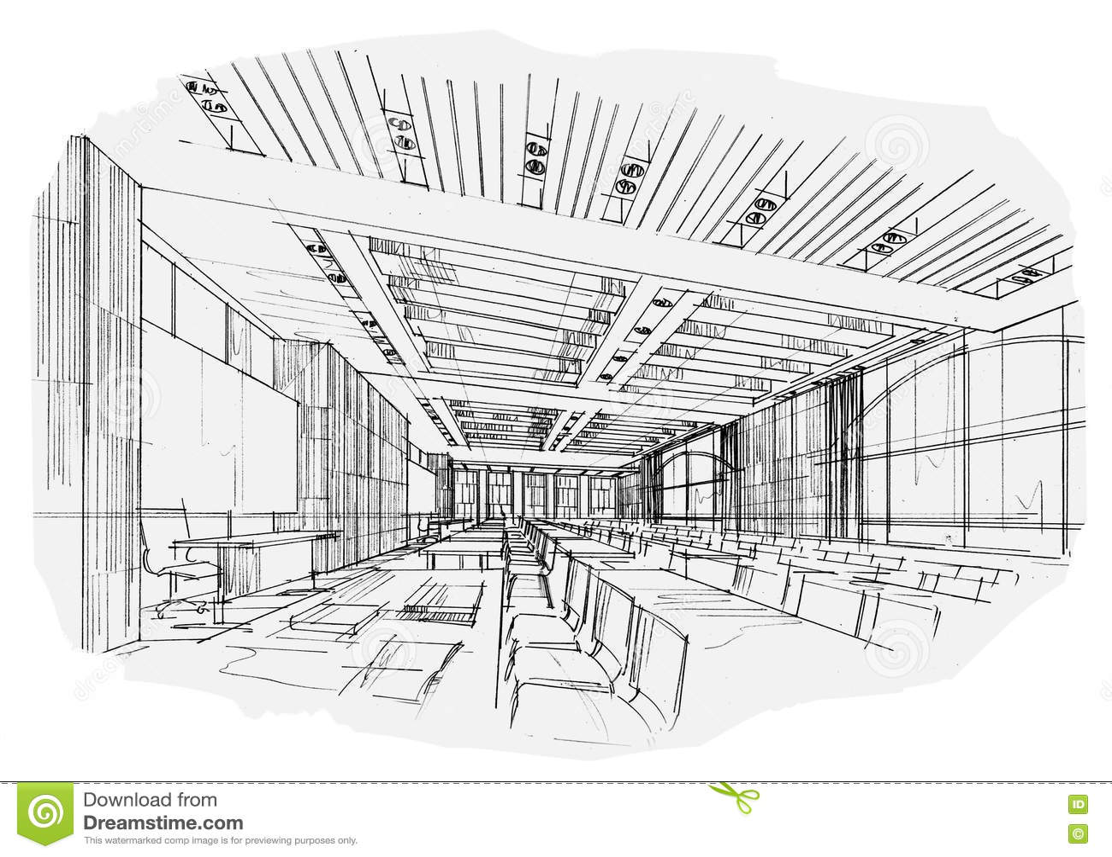 Sala De Aula Interior Da Perspectiva Do Esboco Design De Interiores Preto E Branco Ilustracao
