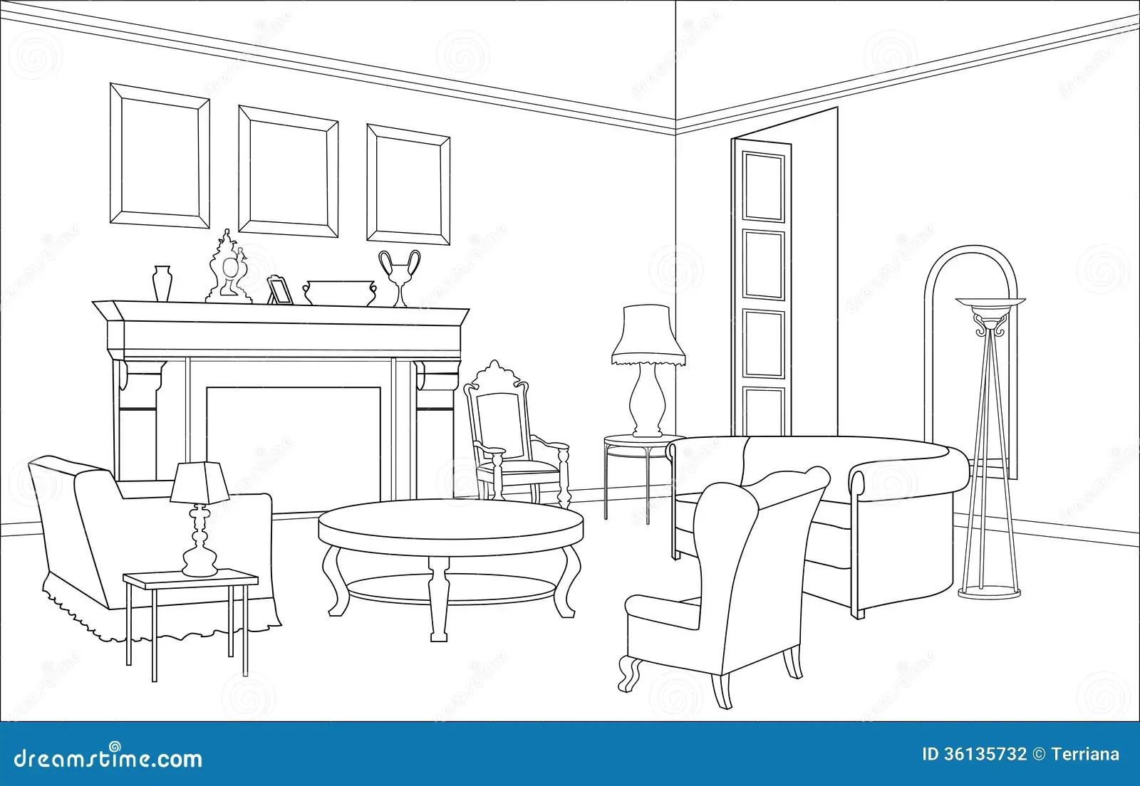 Sala De Estar Com Chamine Mobilia Editavel Interior No