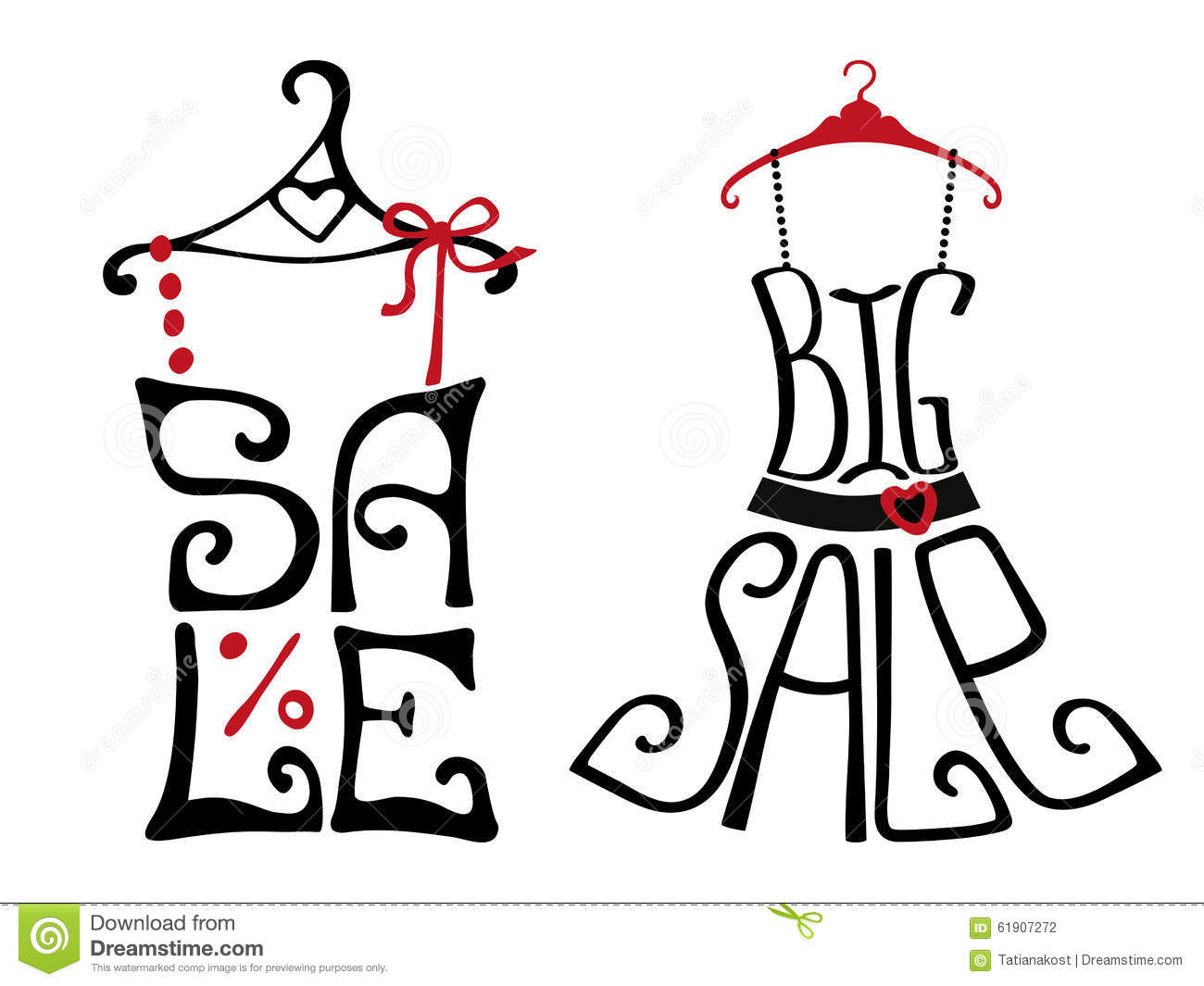 Sale Lettering On Shirt And Dress Shape Stock Vector
