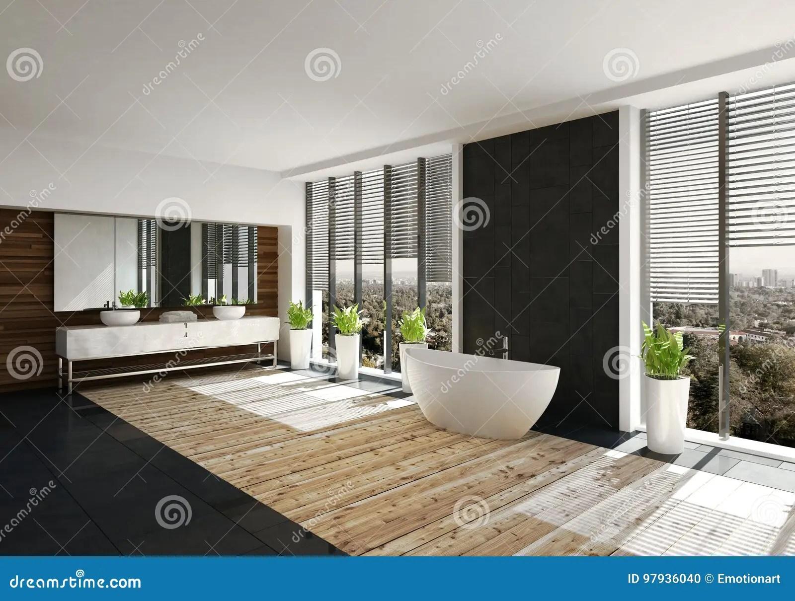 salle de bains moderne avec le mur de