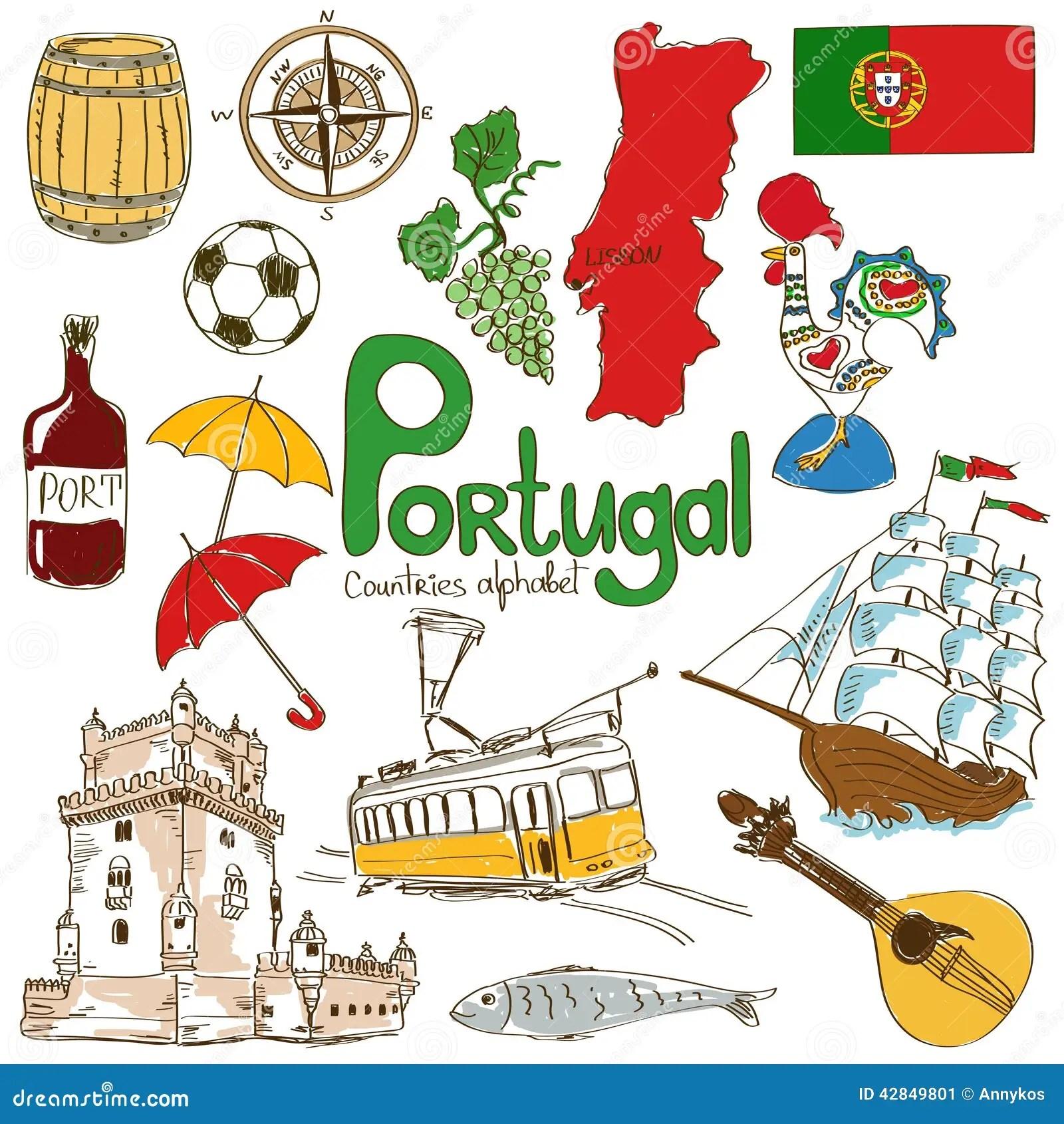 Samling Av Portugal Symboler Vektor Illustrationer