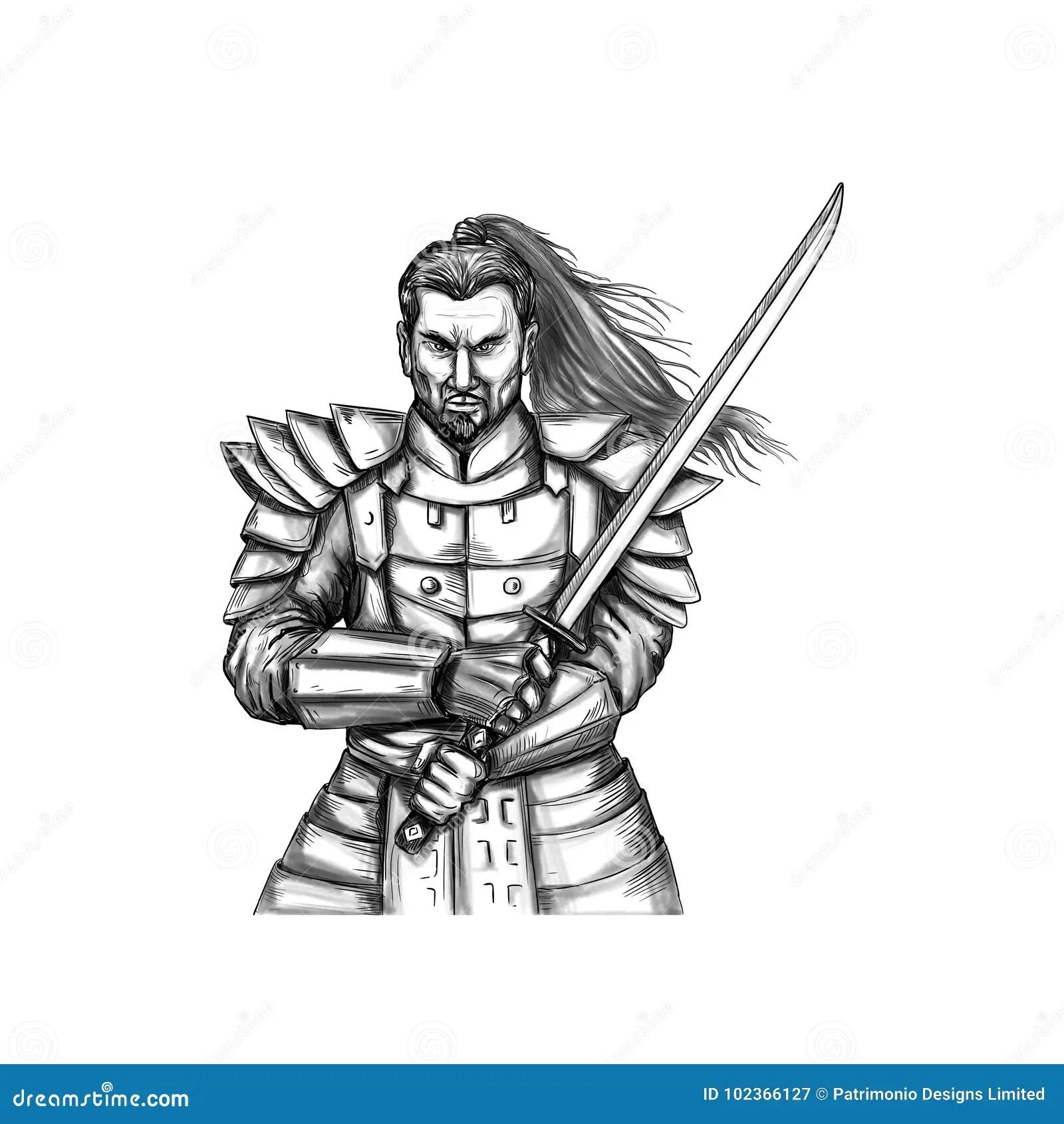 Samurai Katana Sword Tattoo Illustrazione Di Stock