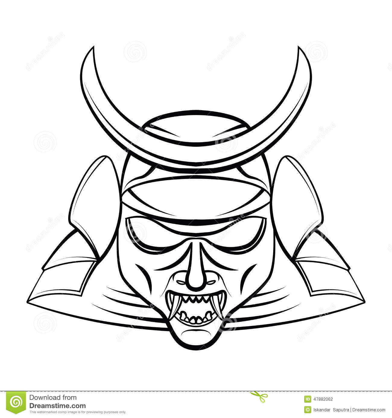 Samurai Mask Stock Vector Illustration Of Head Helmet