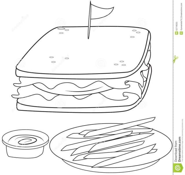 Sandwich and Fries Coloring Page Stock Illustration - Illustration
