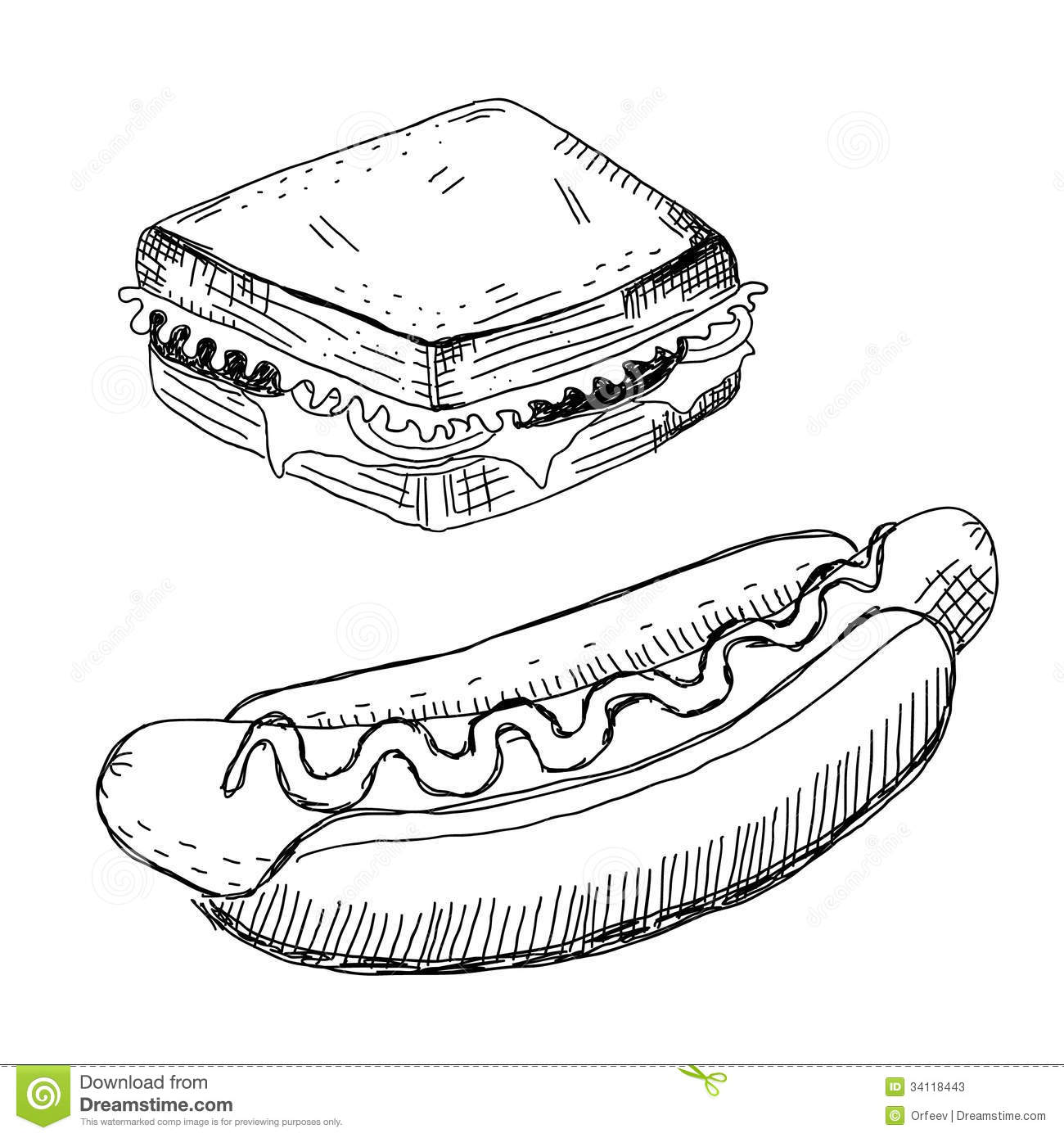 Sandwich And Hot Dog Stock Photos