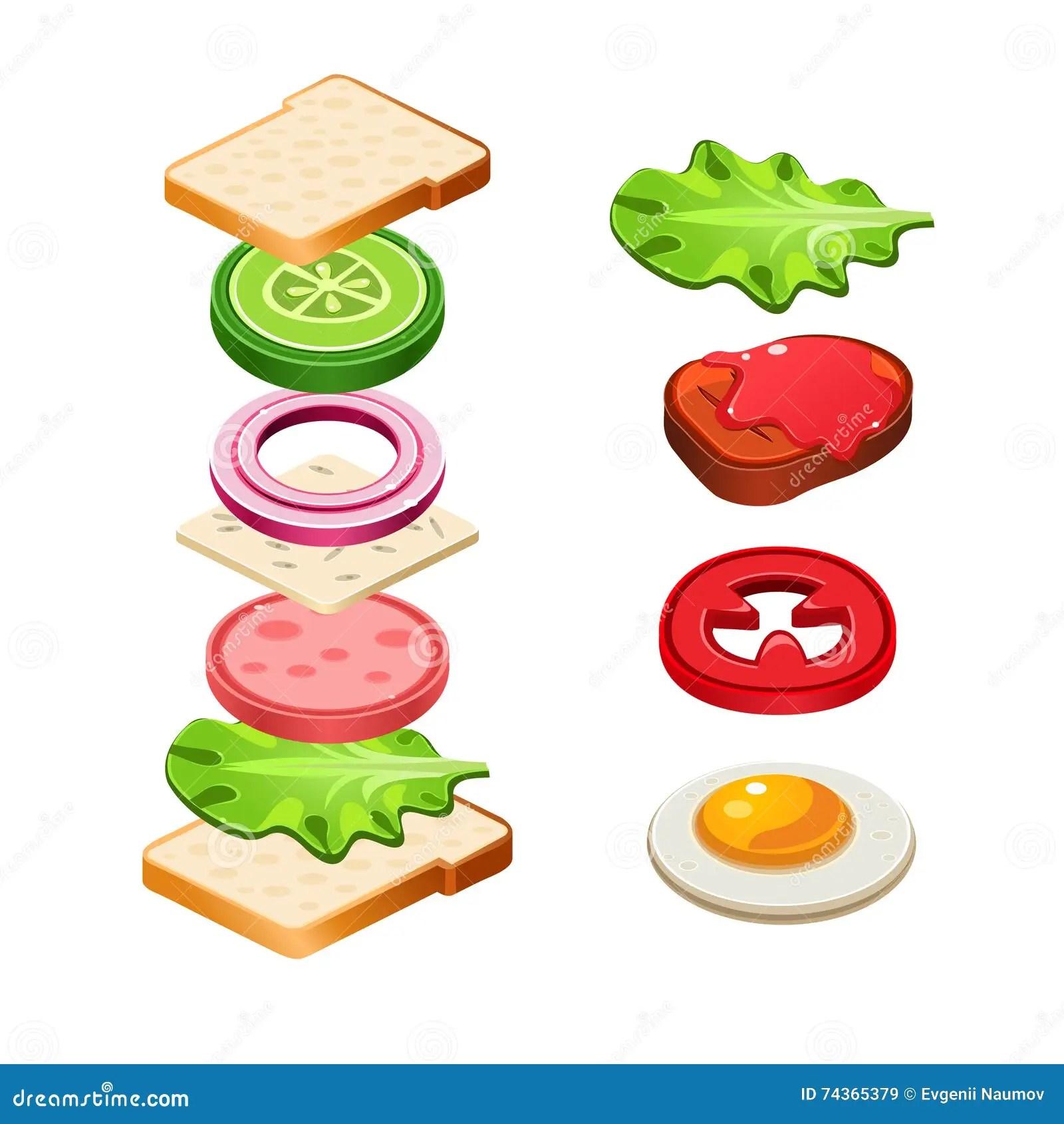 Sandwich Ingre Nts Food Illustration Stock Illustration