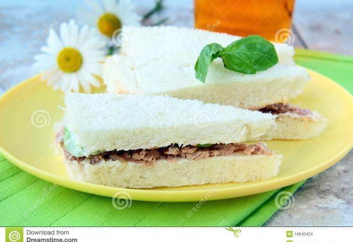 Sandwich Of White Bread With Tuna Stock Photo Image Of Butter