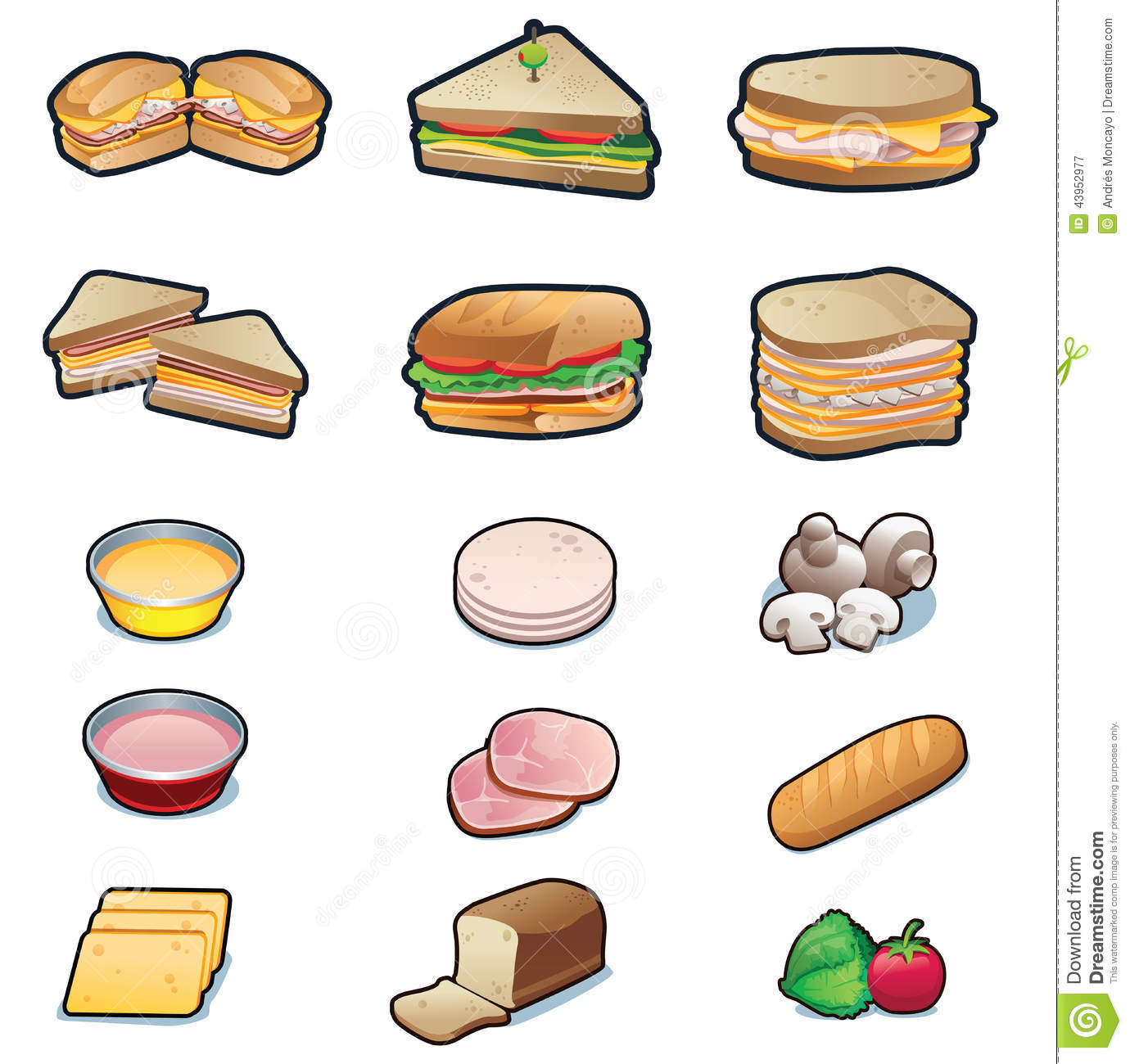 Sandwiches And Ingre Nts Set Stock Vector