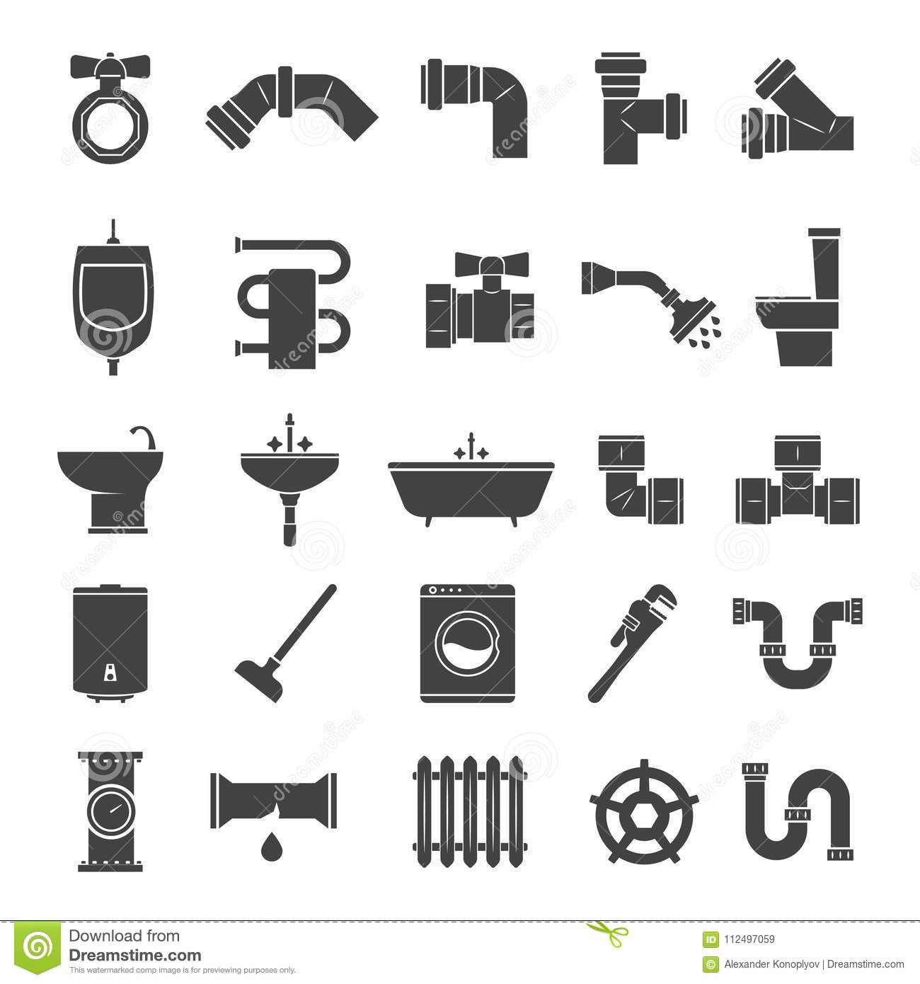 Pipe Fitting Vector Set Pipeline Vector Illustration