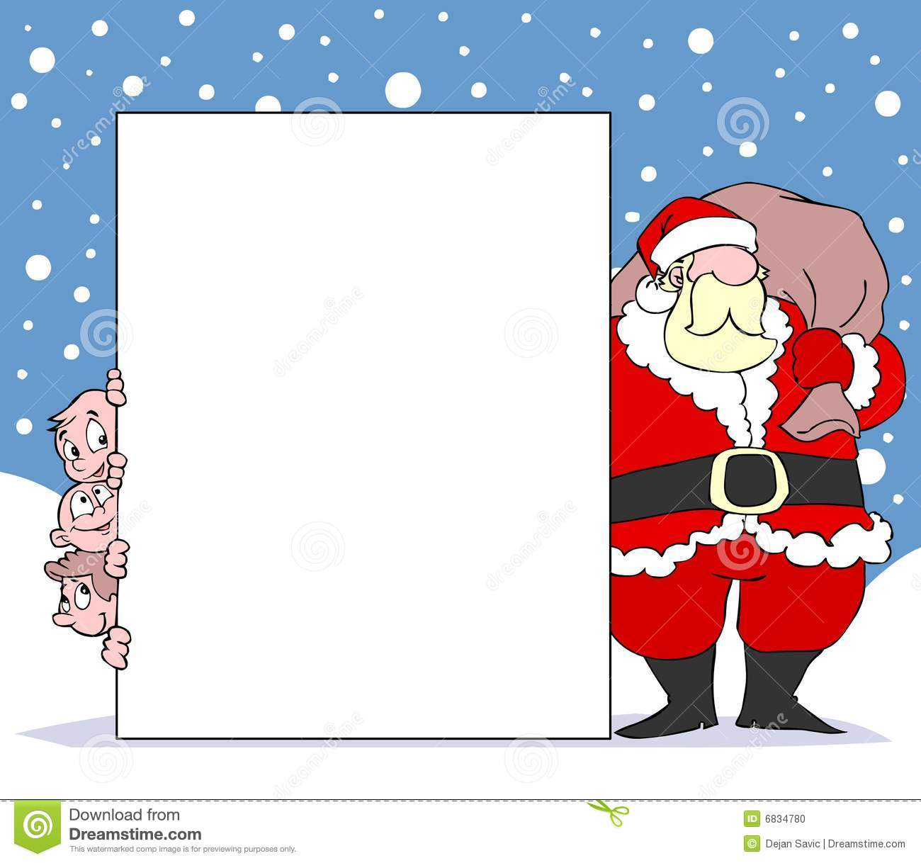 Santa With Banner And Kids Stock Photo Image 6834780