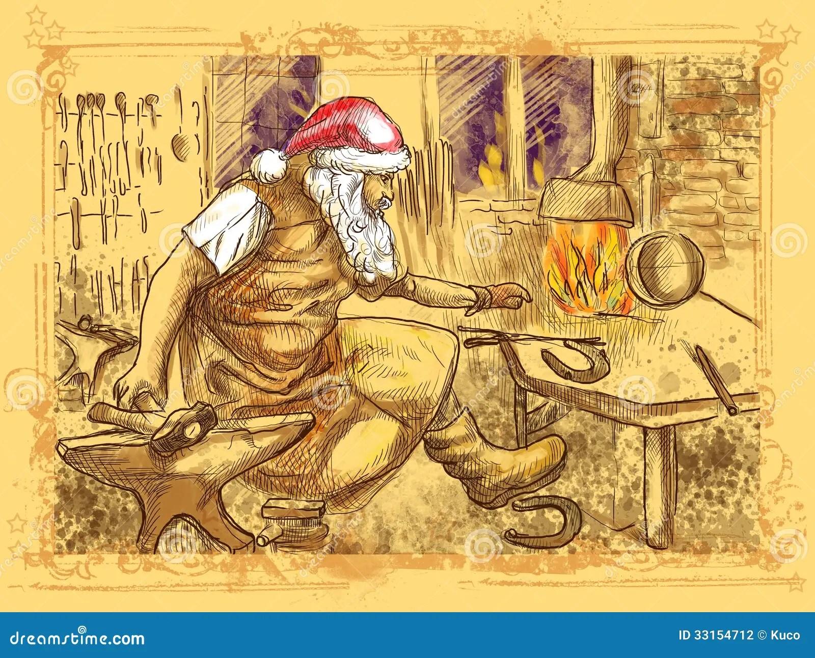 Santa Claus Blacksmith Stock Illustration Illustration