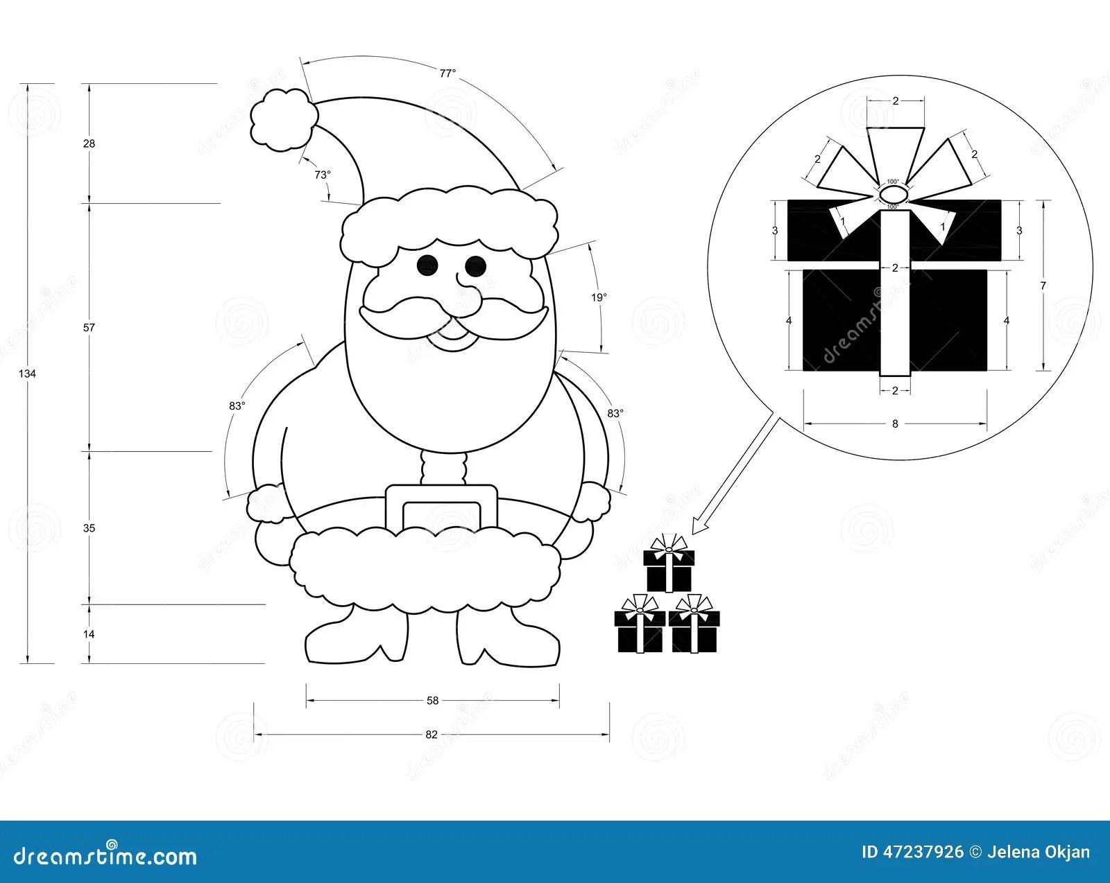 Santa Claus Blueprint Stock Illustration Image Of Objects