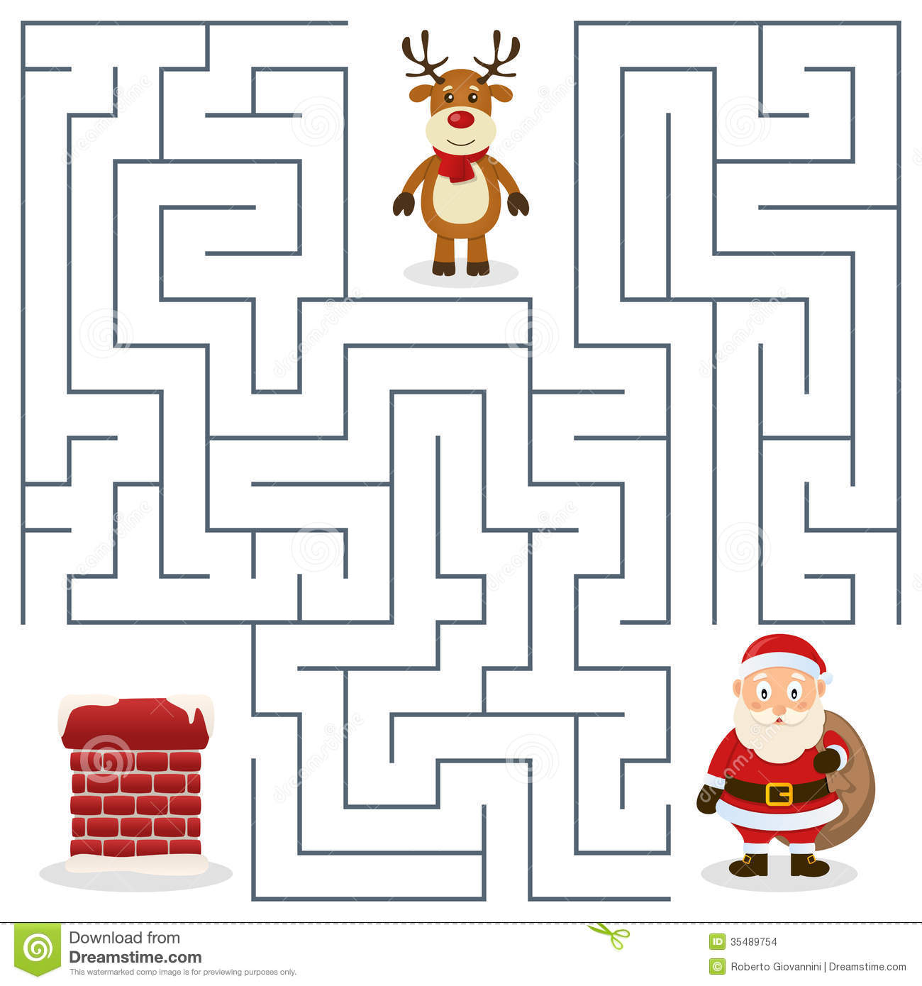 Santa Claus Amp Chimney Maze For Kids Stock Vector