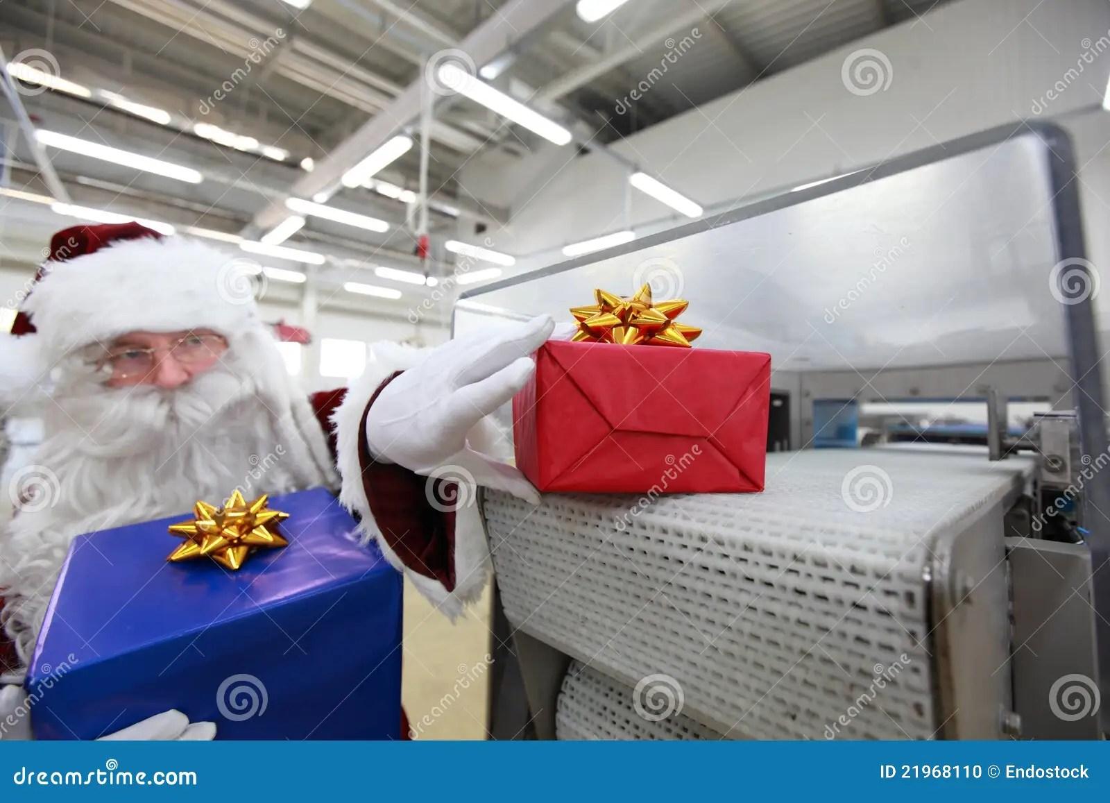 Santa Claus Amp Christmas Gift Machine Stock Photo Image