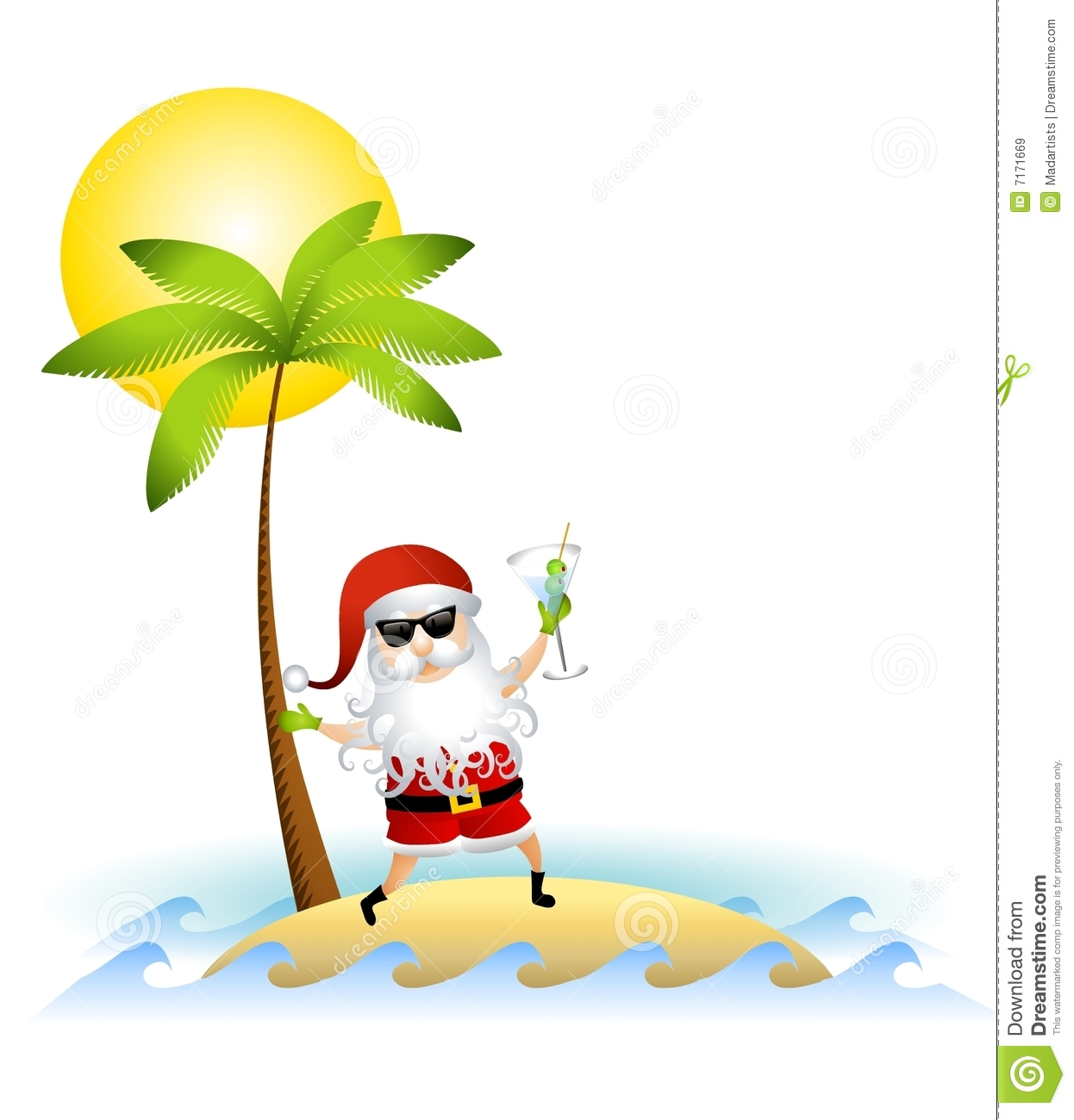 Santa Claus On Desert Island Royalty Free Stock Images