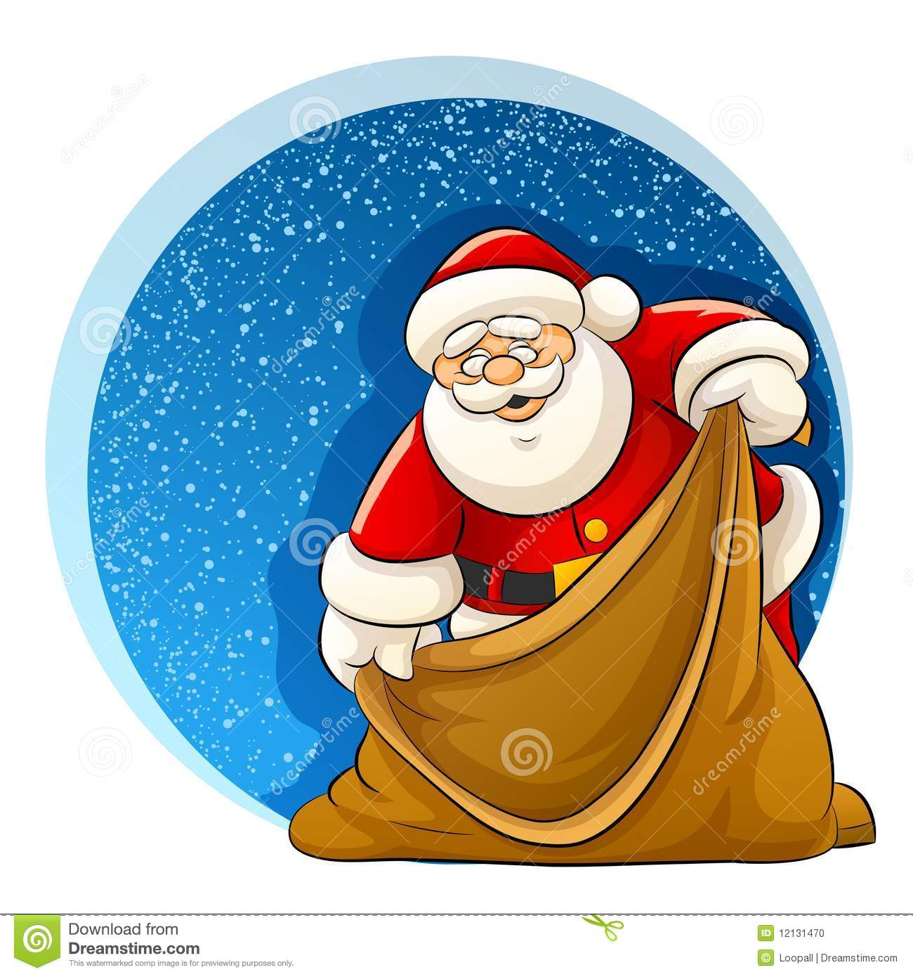 Santa Claus With Empty Sack For Christmas Ts Stock