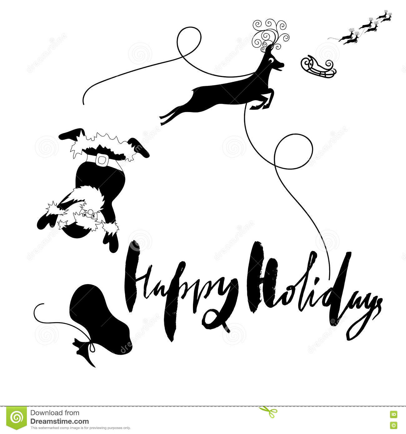 Santa Claus Fall From Sleigh With Harness On The Reindeer