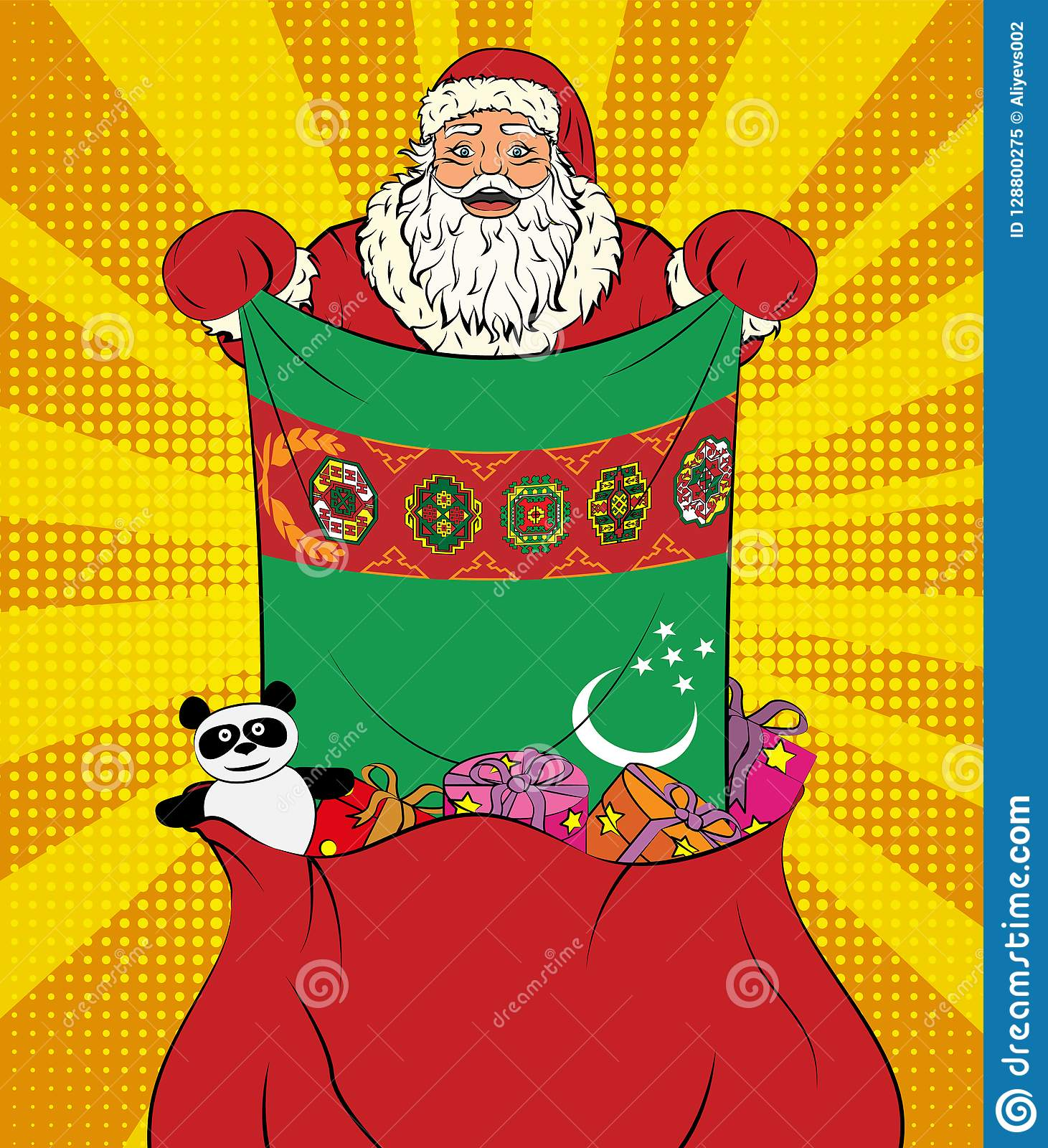 Santa Claus Gets National Flag Of Turkmenistan Out Of The