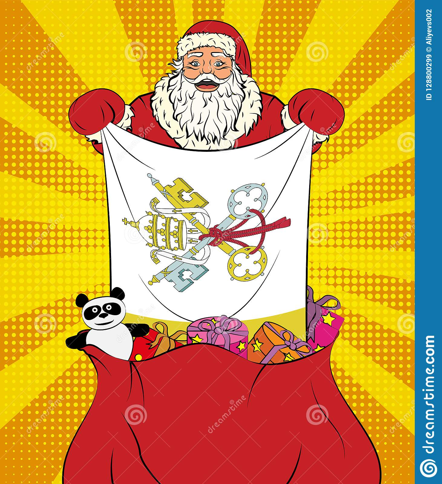 Santa Claus Gets National Flag Of Vatican City Out Of The