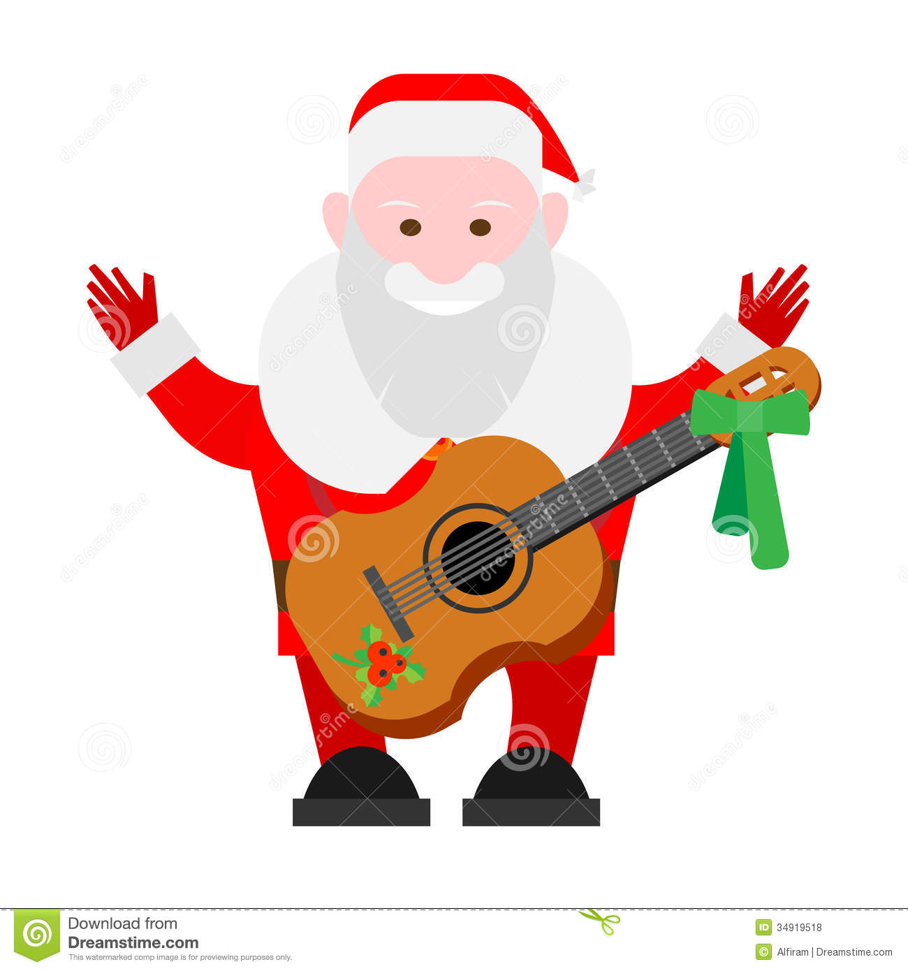 Santa Claus With A Guitar Stock Vector Illustration Of