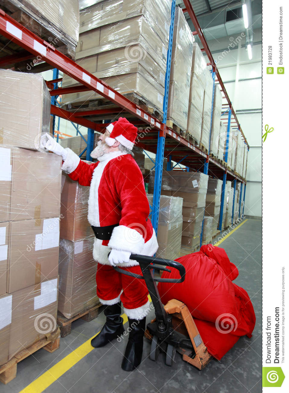 Santa Claus Looking For Presents In Storehouse Royalty Free Stock Photos Image 21983728
