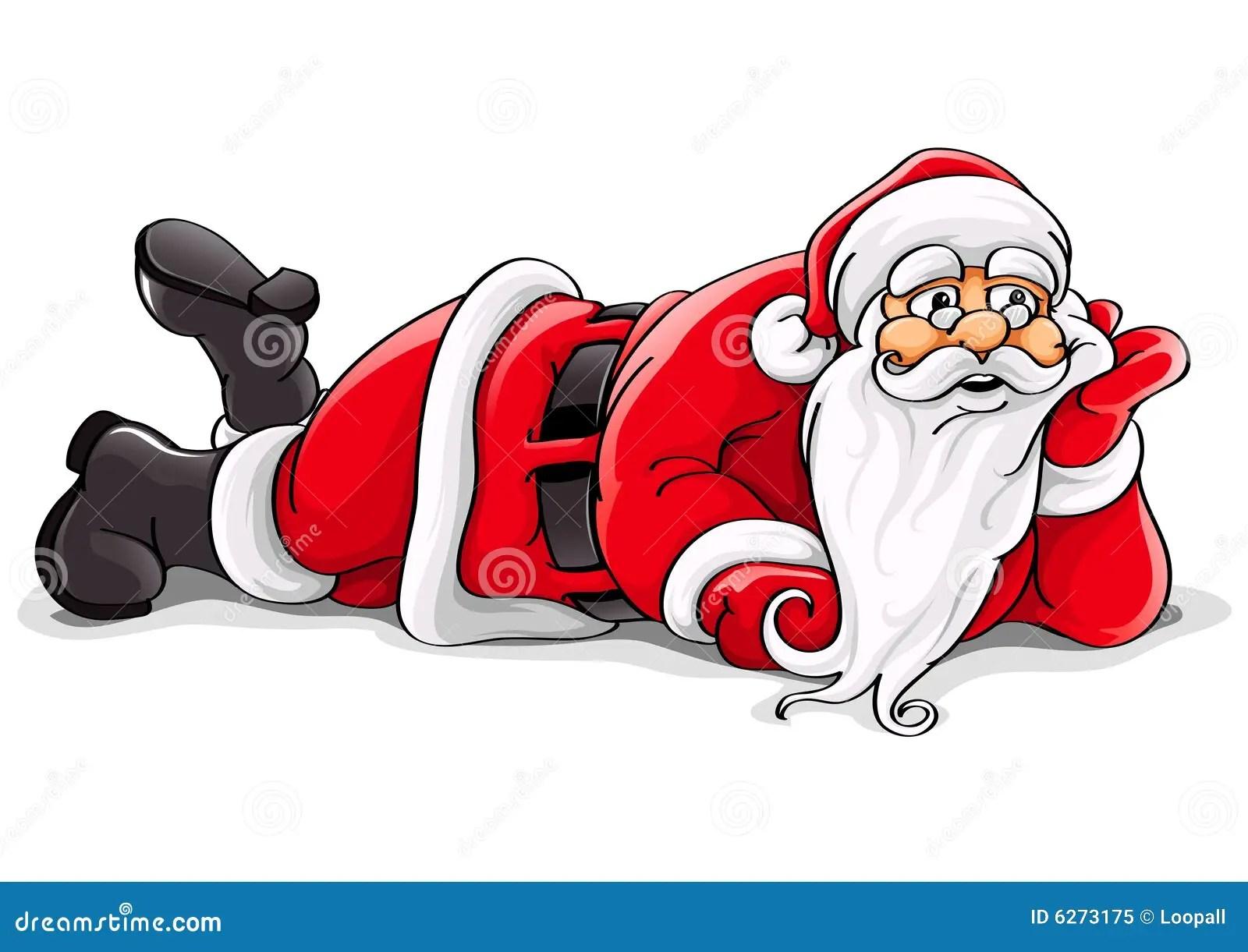 Santa Claus Lying Christmas Vector Illustration Stock