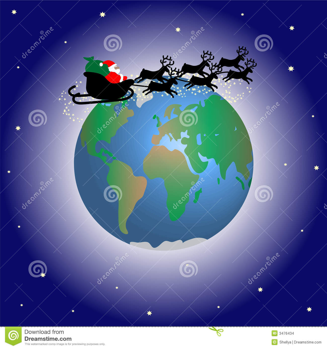 Santa Claus Over The World Stock Illustration Image Of