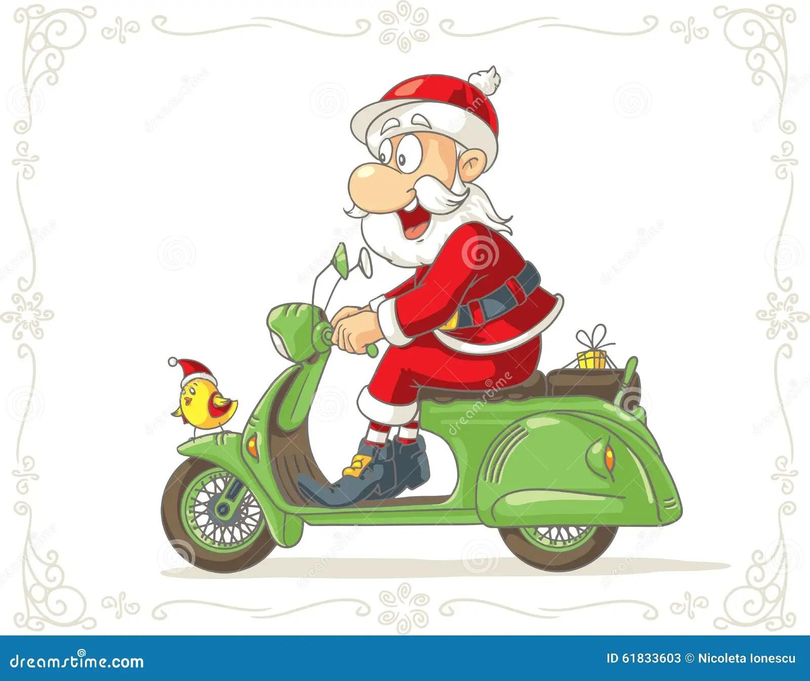 Santa Claus On A Scooter Vector Cartoon Stock Vector
