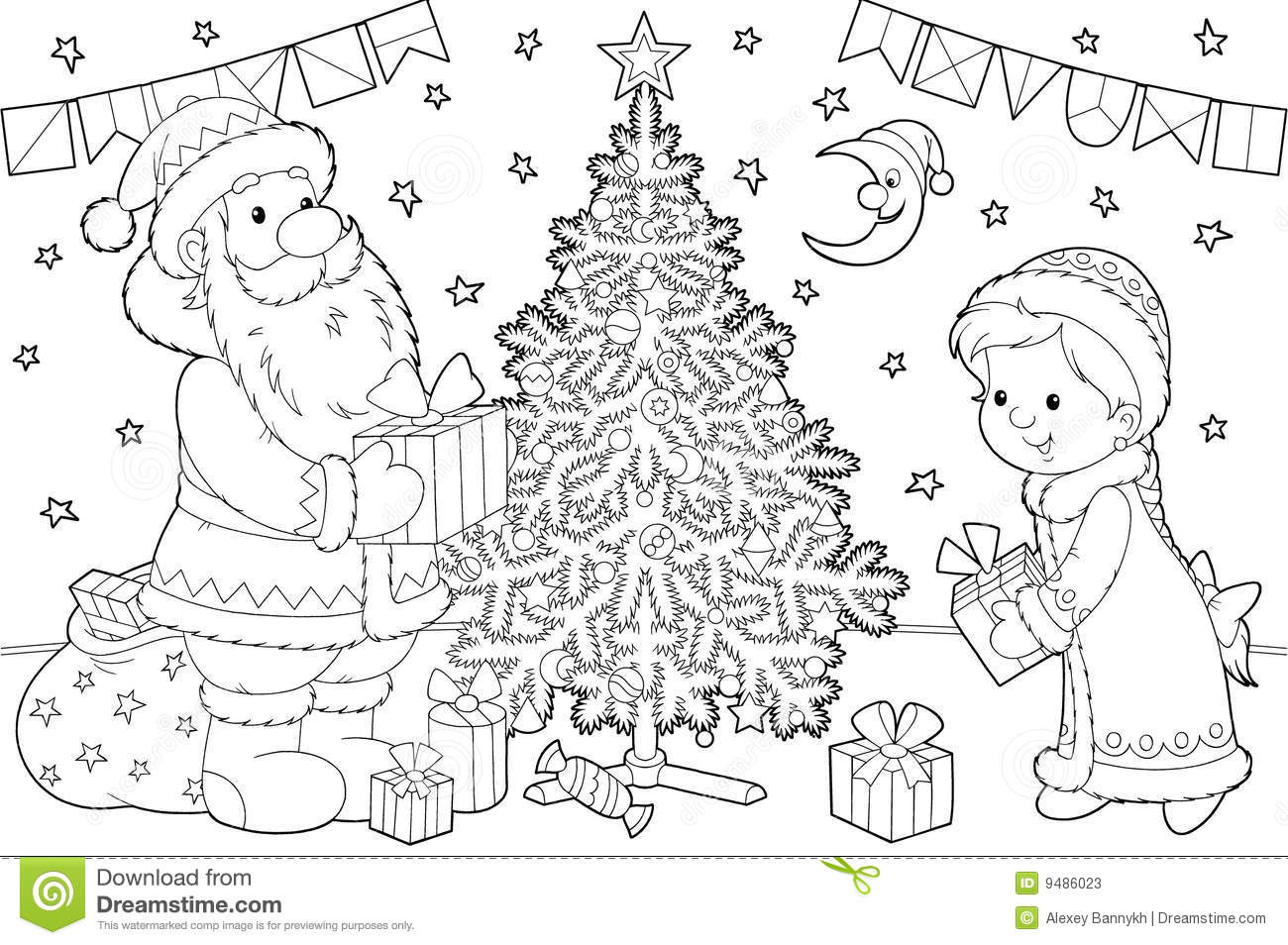 Santa Claus And Snow Maiden Stock Illustration