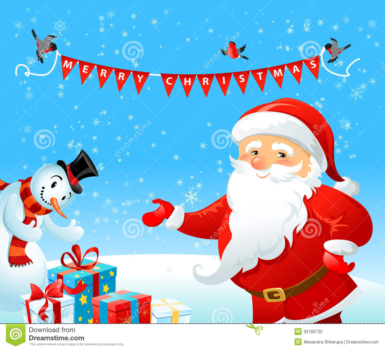 Santa Claus And Snowman Stock Vector Illustration Of