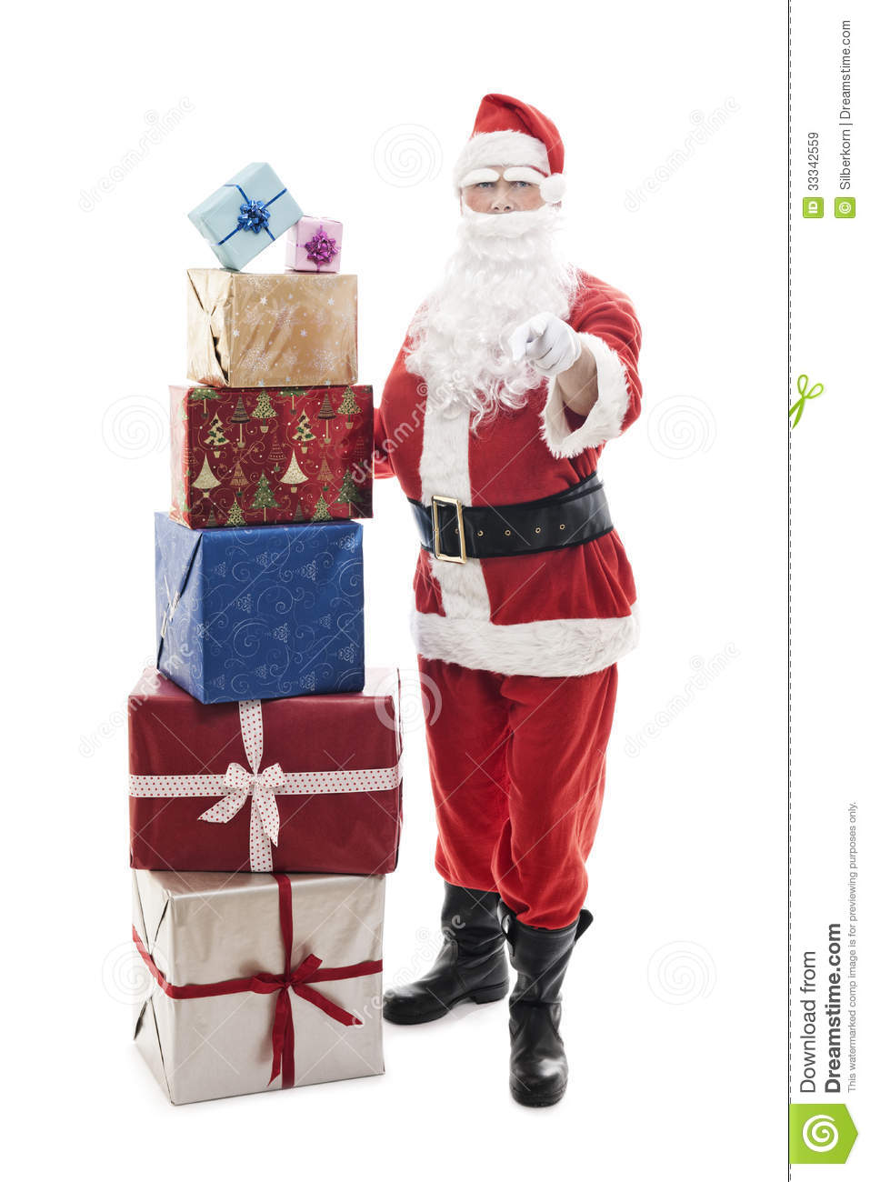 Santa Claus With Stacked Christmas Presents Royalty Free