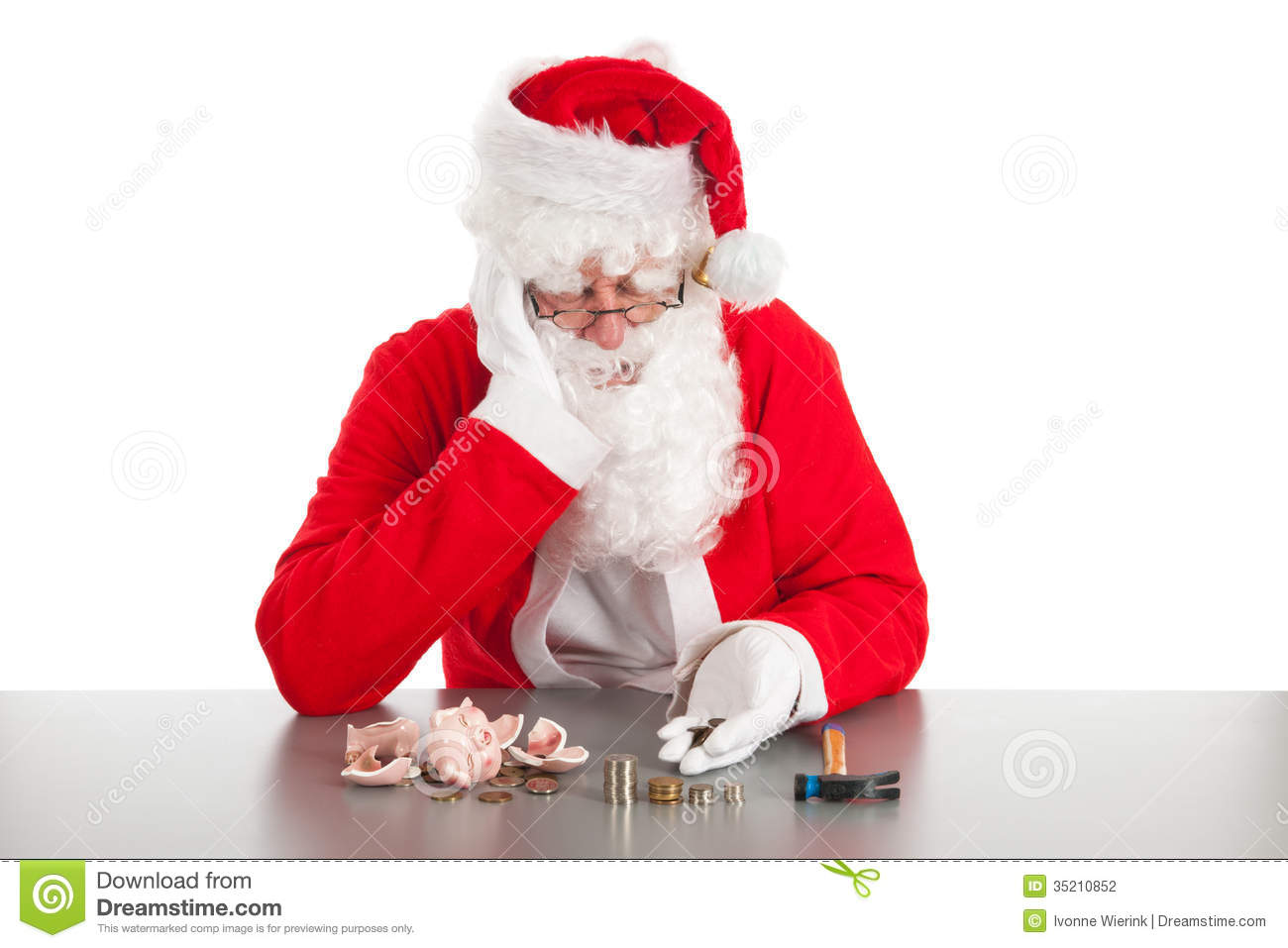 Santa Counting Coins Stock Photo Image Of Claus Money