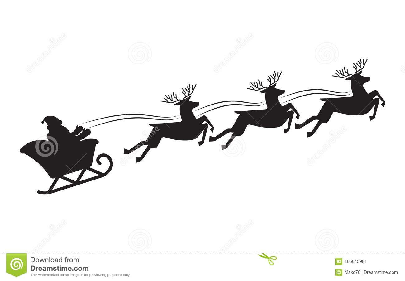 Santa Flying In A Sleigh With Reindeer Stock Vector