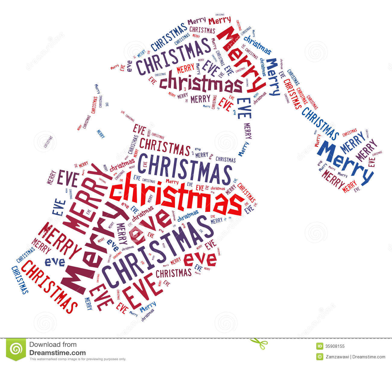 Santa Hat Word Shape Design With Text Stock Illustration