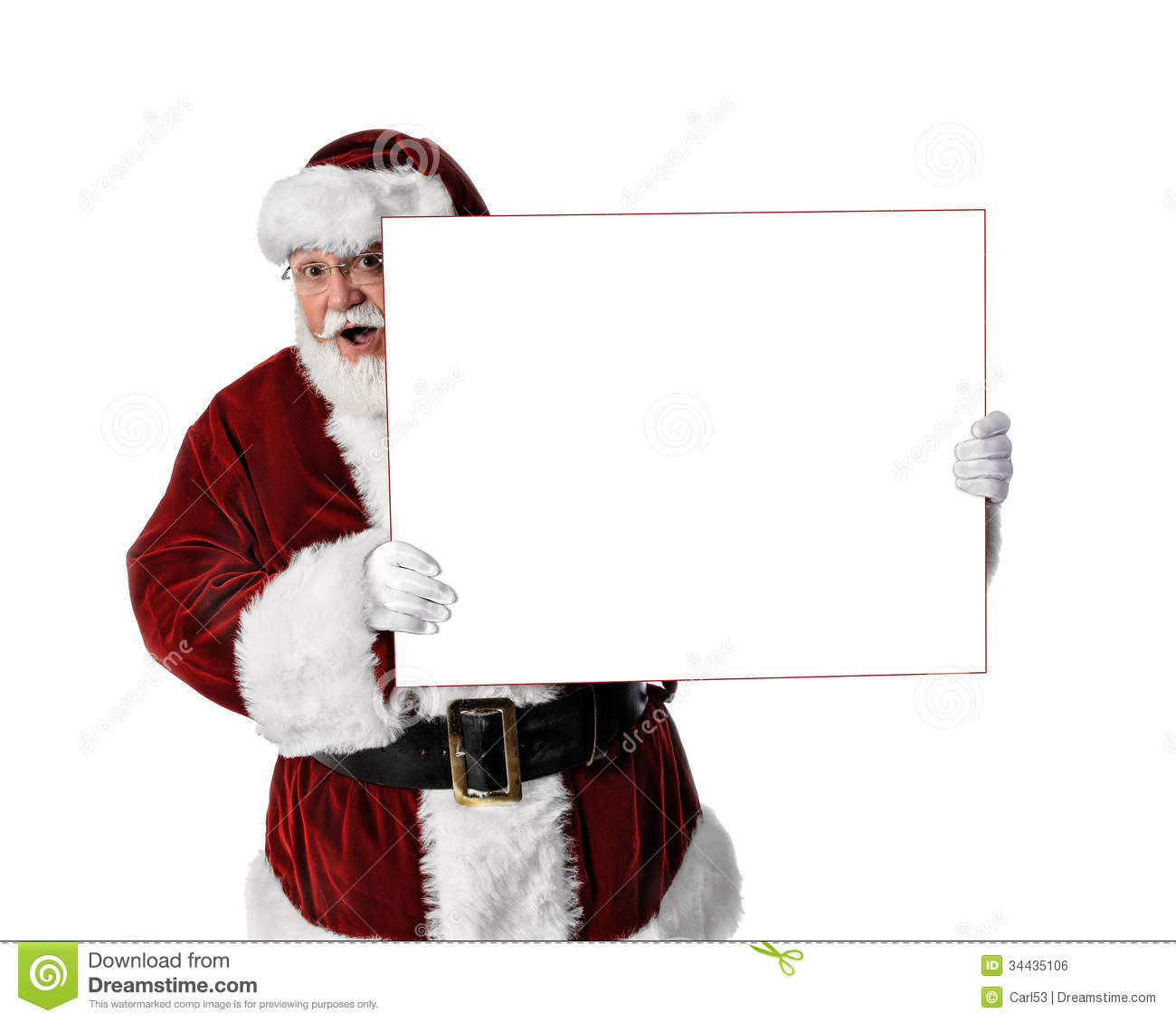 Santa Holding Peeking Around Blank Sign Royalty Free Stock