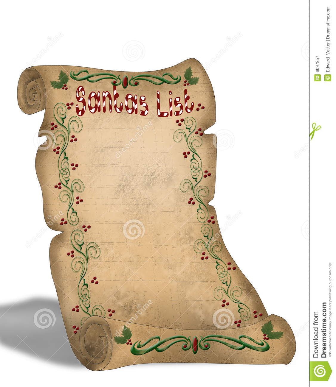 Santas List On Old Parchment Scroll Stock Illustration Illustration Of Antique Holiday 6097857