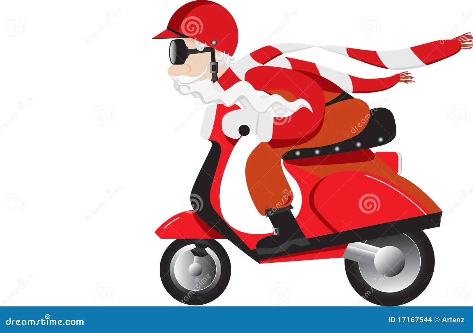 Santa On A Scooter Stock Illustration Illustration Of