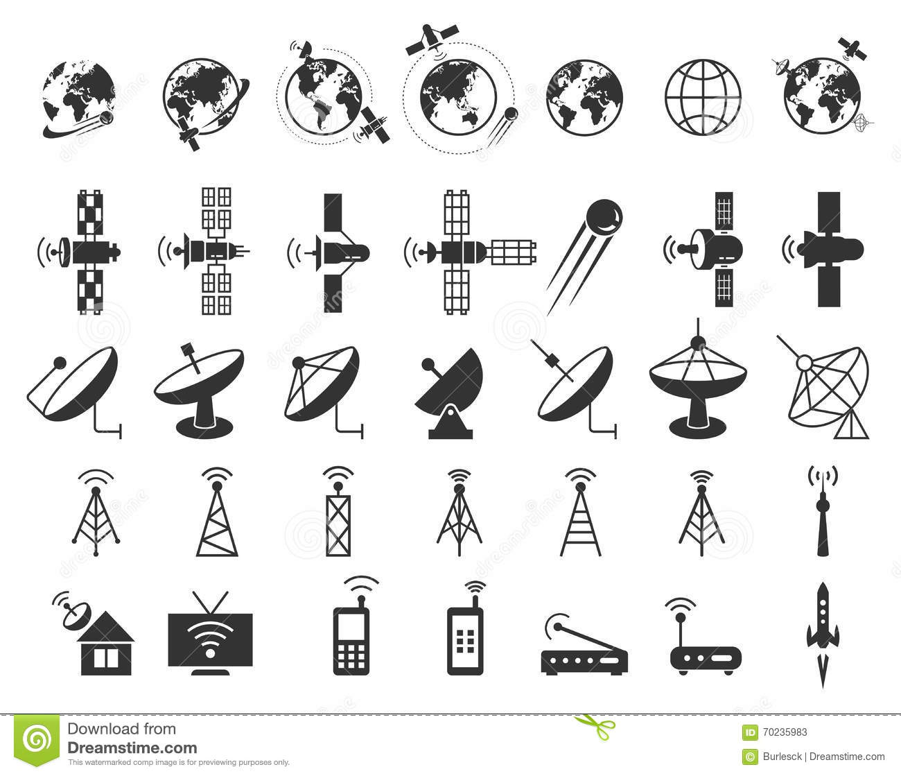 Satellite Icons Vector Stock Vector Illustration Of