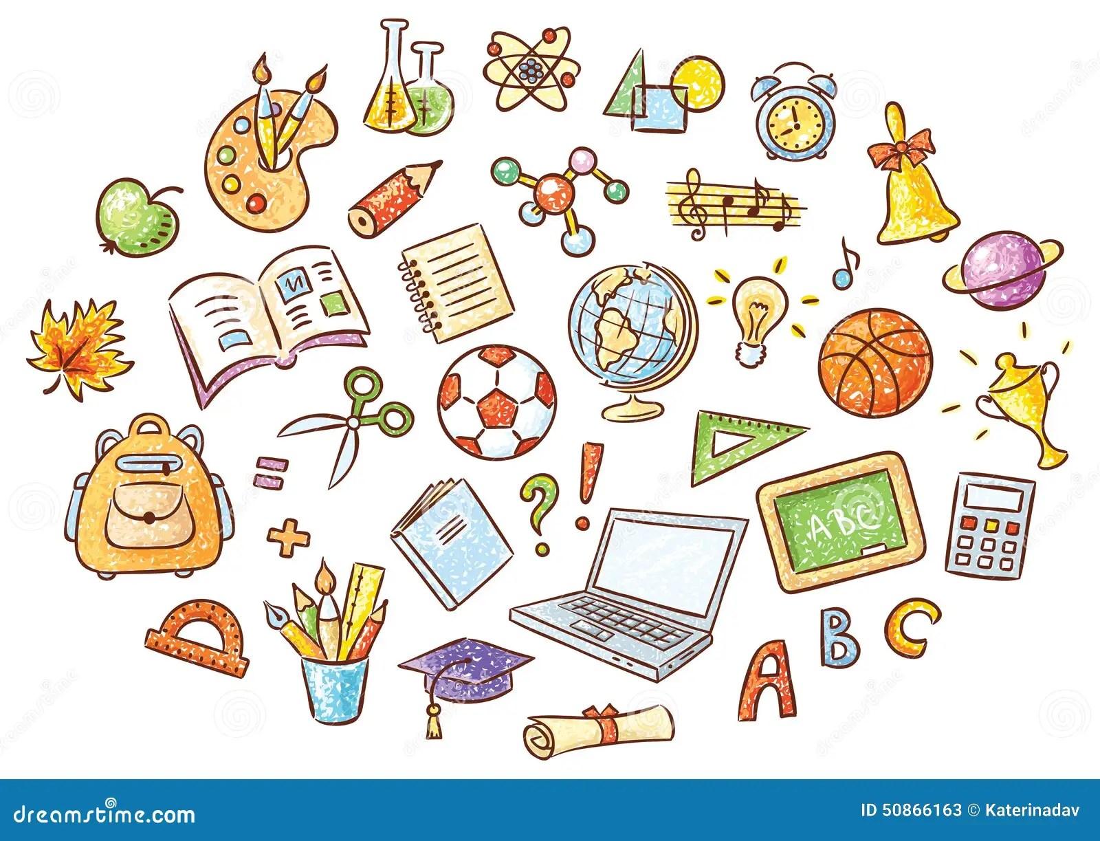 Satz Einfache Karikatur Schulsachen Vektor Abbildung