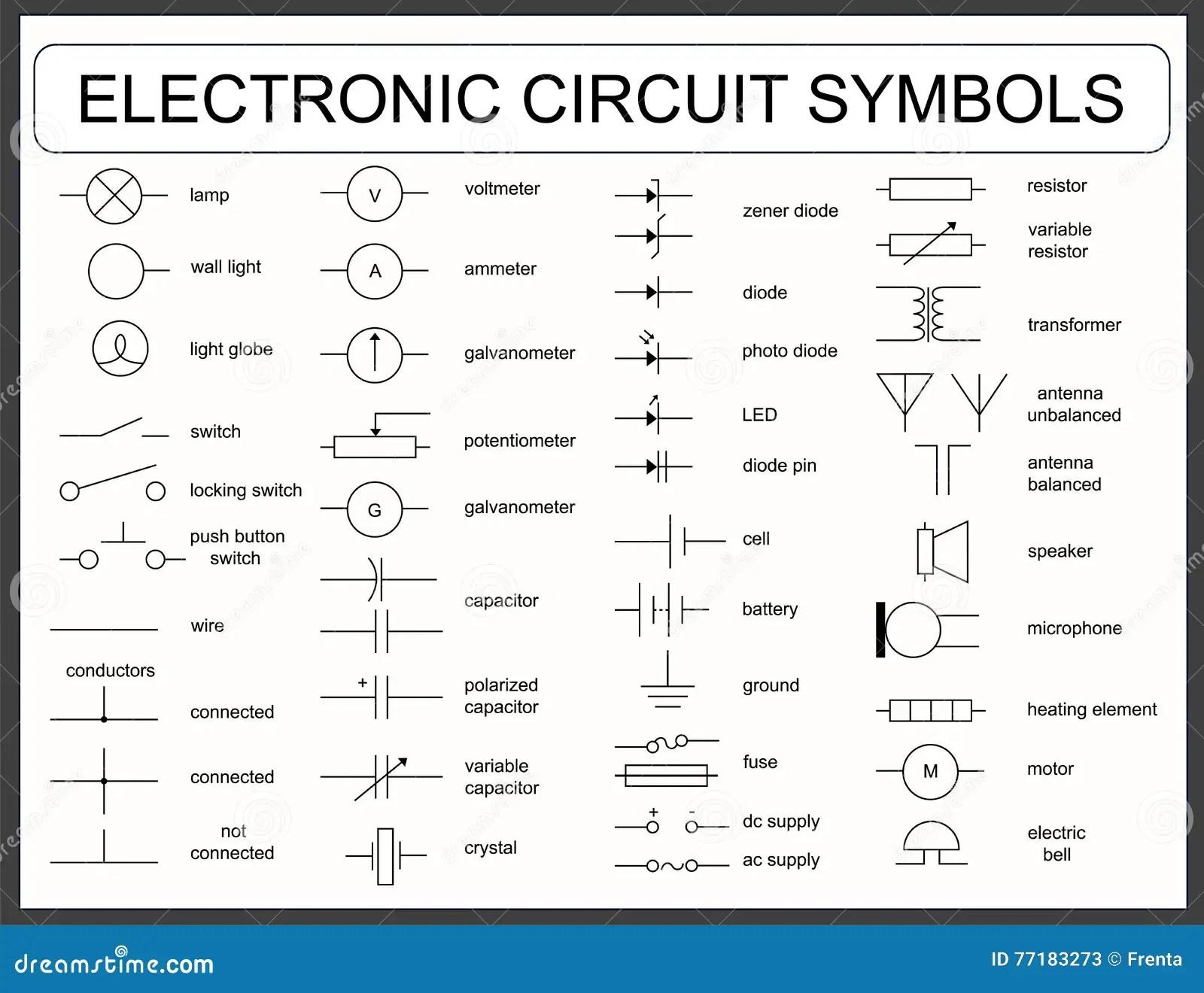 Satz Symbole Der Elektronischen Schaltung Vektor Abbildung