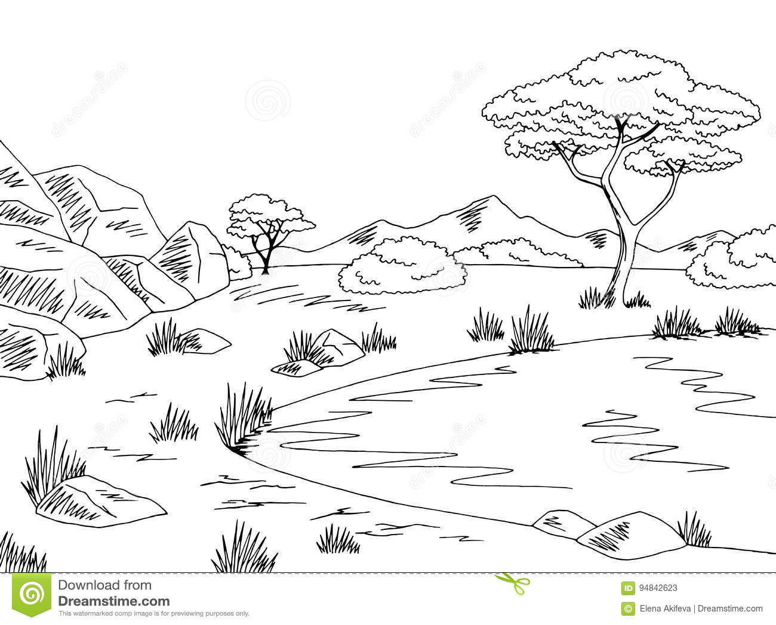Savannah Graphic Black White Lake Landscape Sketch
