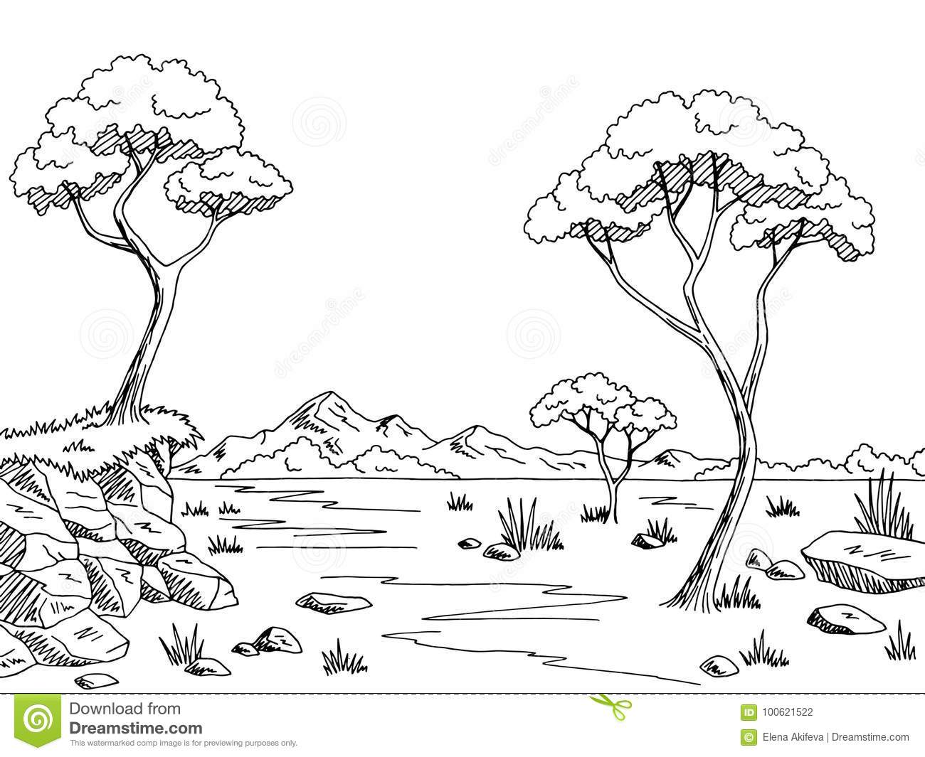 Savannah Graphic Black White Landscape Sketch Illustration