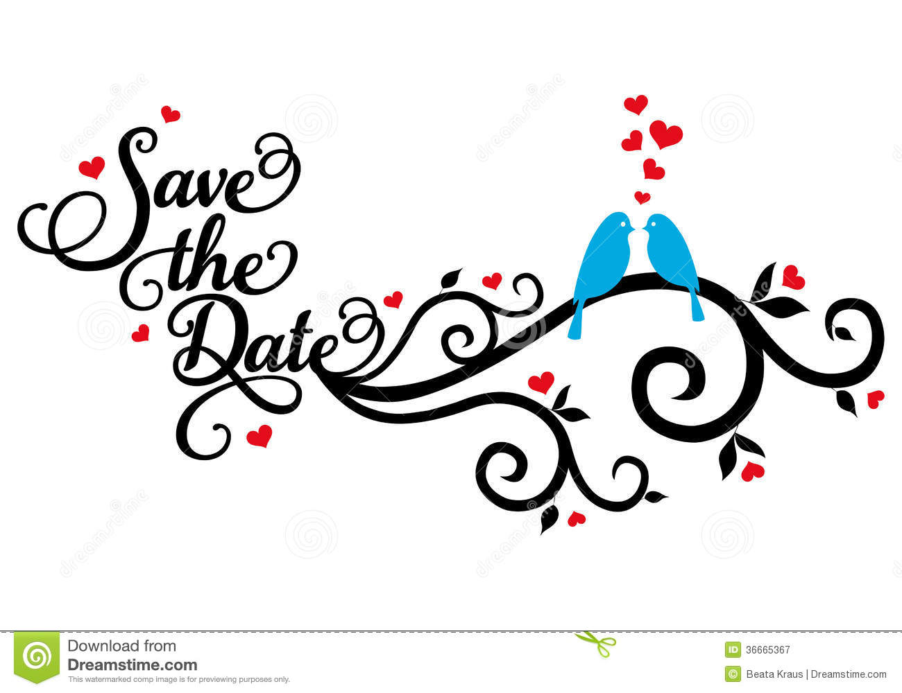 Save The Date Wedding Birds Vector Royalty Free Stock